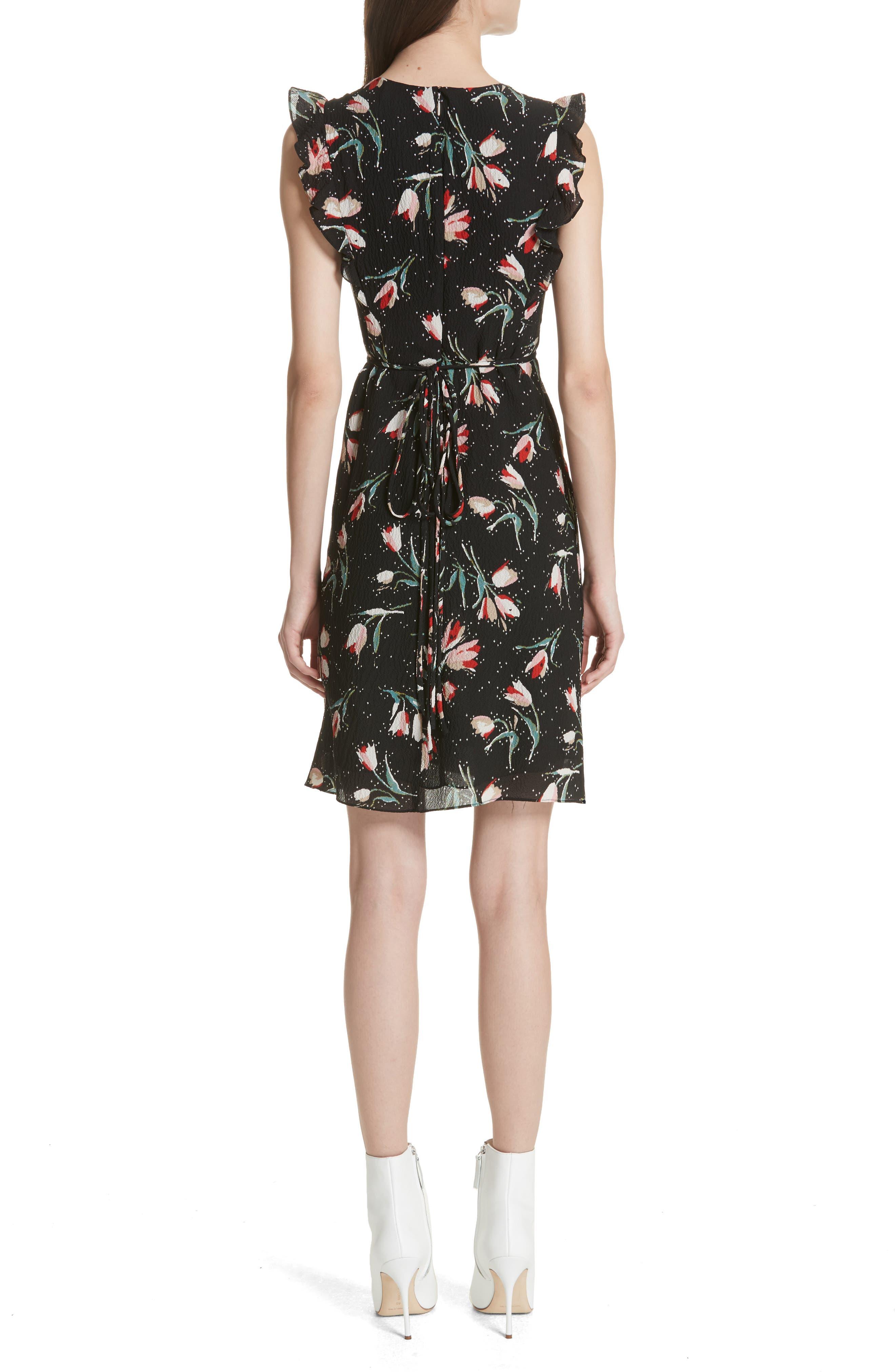 Ruffled Ikat Floral A-Line Dress,                             Alternate thumbnail 2, color,