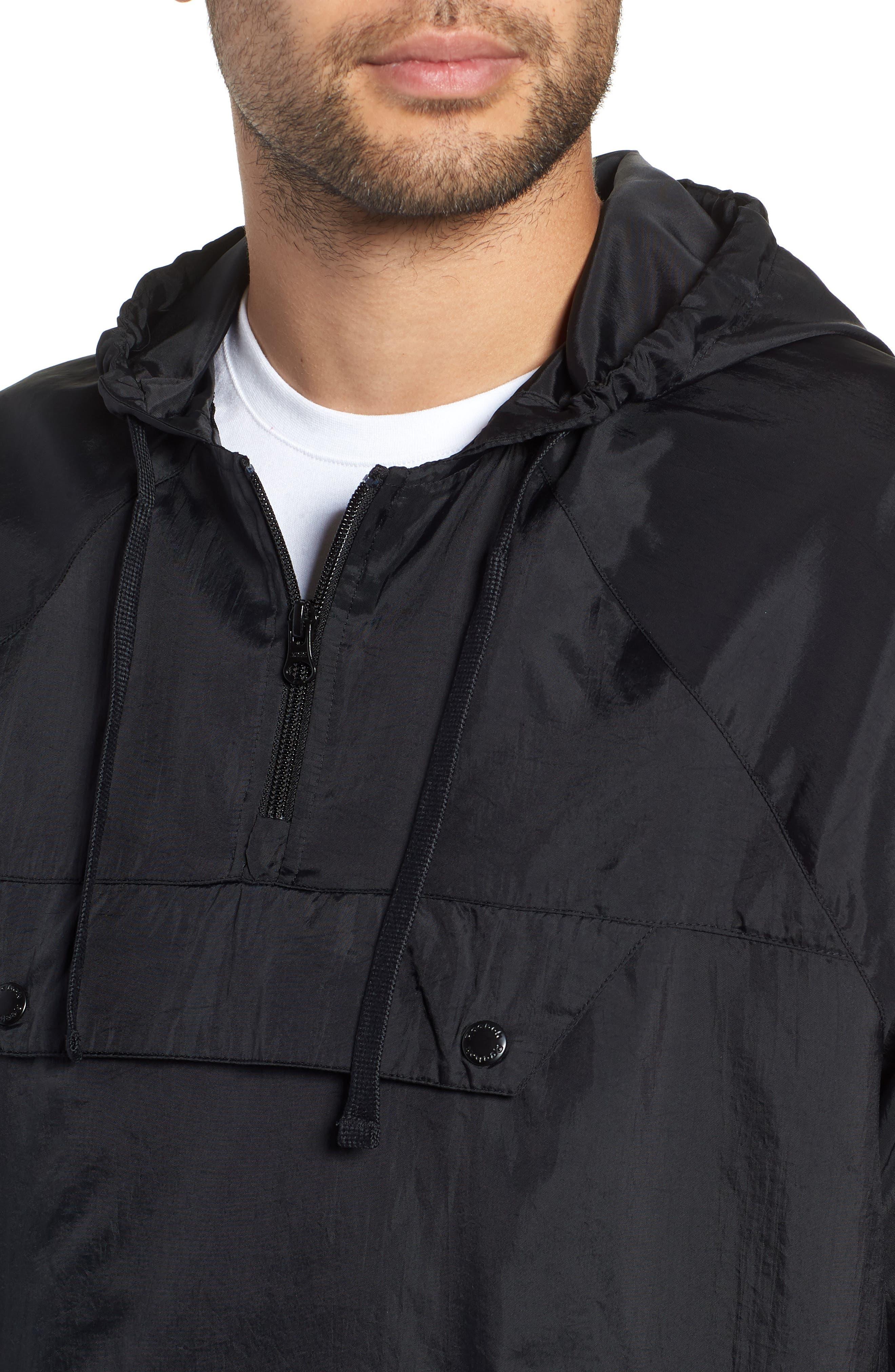 Half Zip Hooded Pullover,                             Alternate thumbnail 4, color,                             BLACK
