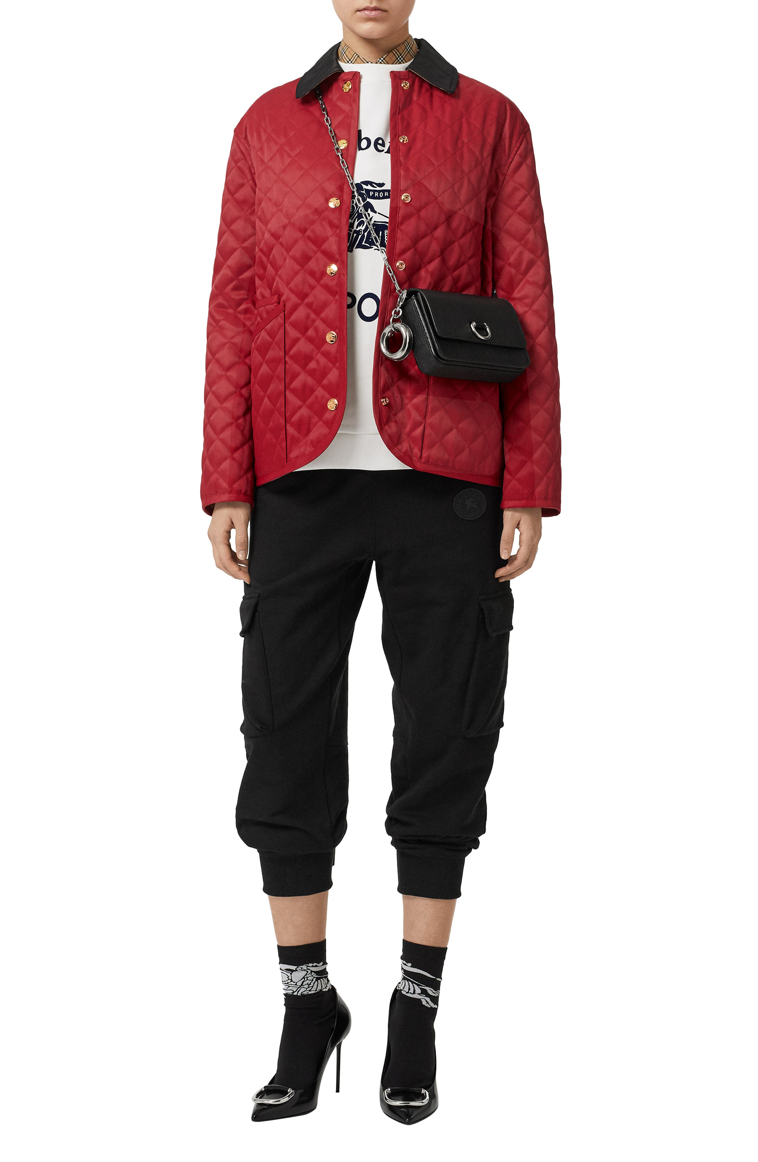Dranefeld Quilted Jacket,                             Alternate thumbnail 5, color,                             RED