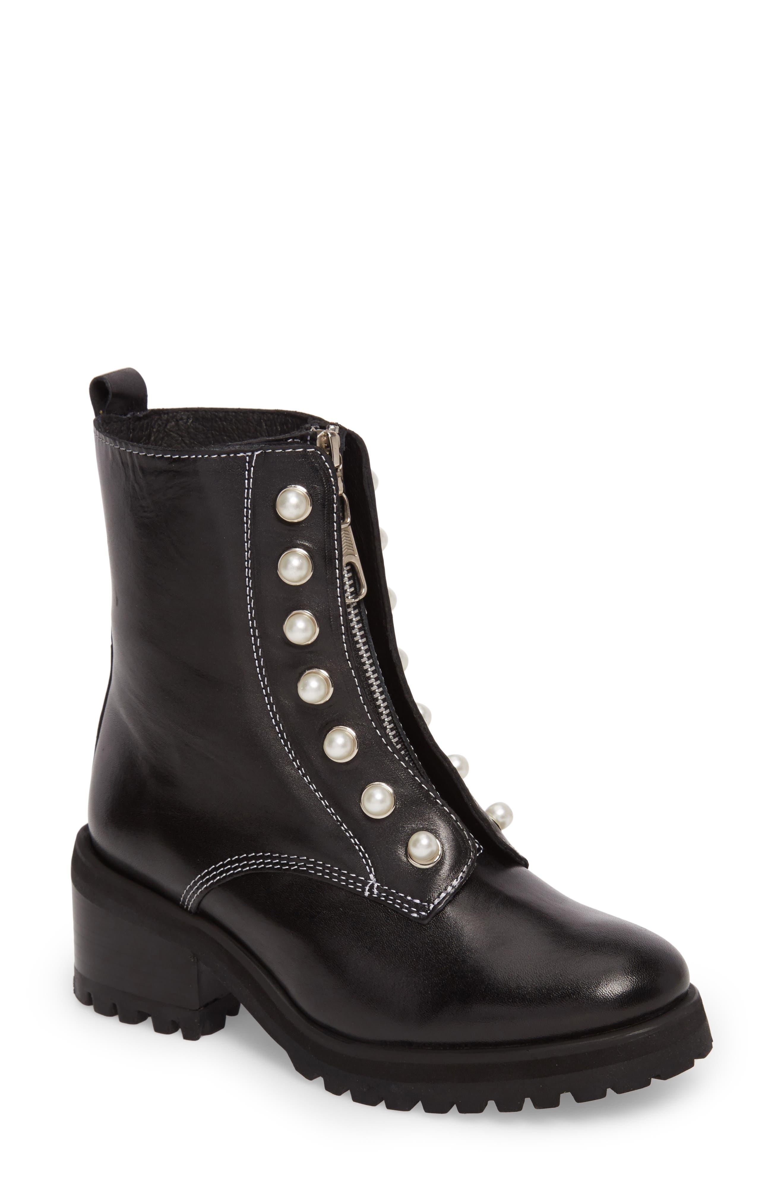 STEVE MADDEN Granite Embellished Zip Boot, Main, color, 001