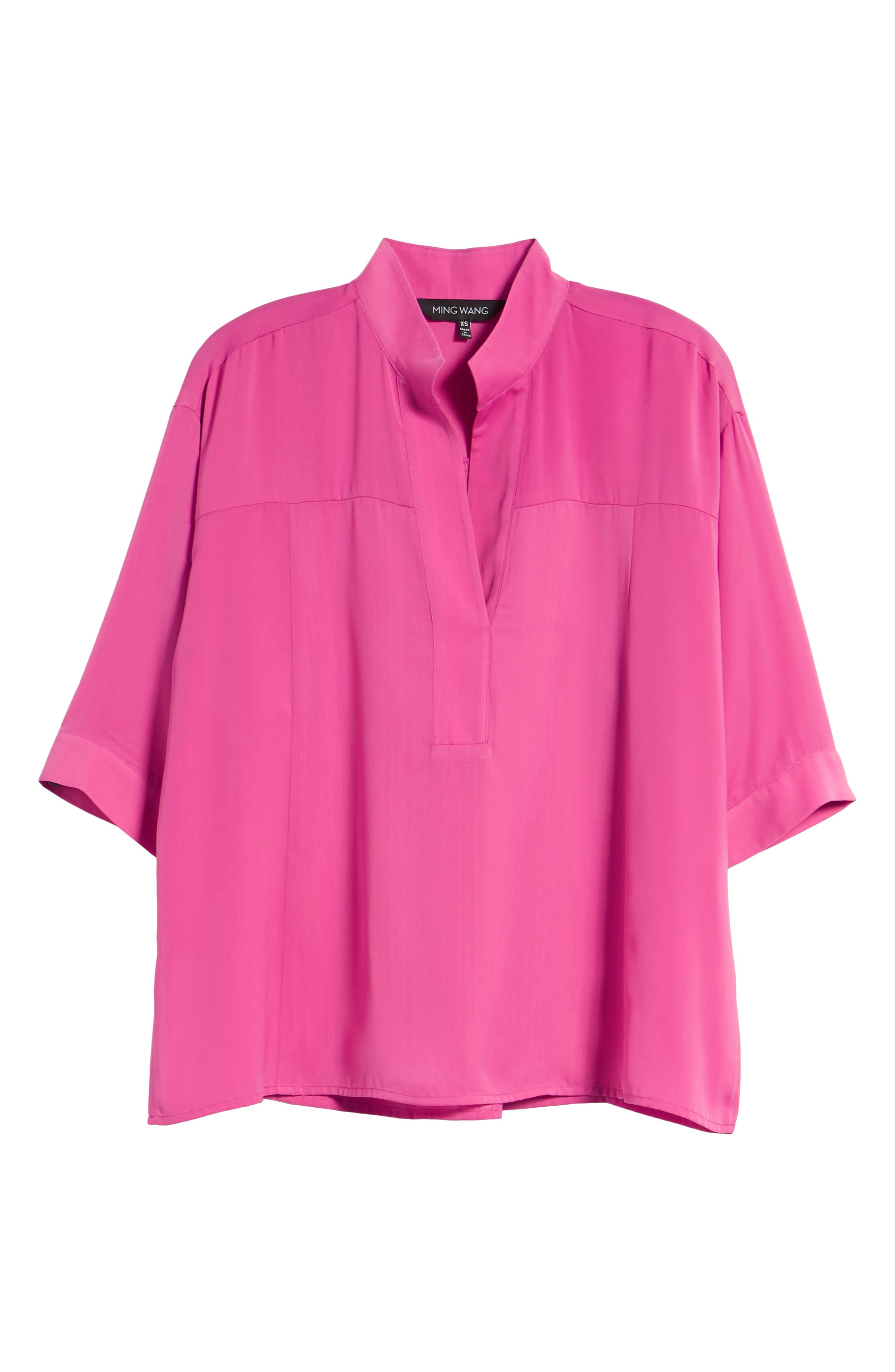 Split Neck Blouse,                             Alternate thumbnail 6, color,                             HIBISCUS
