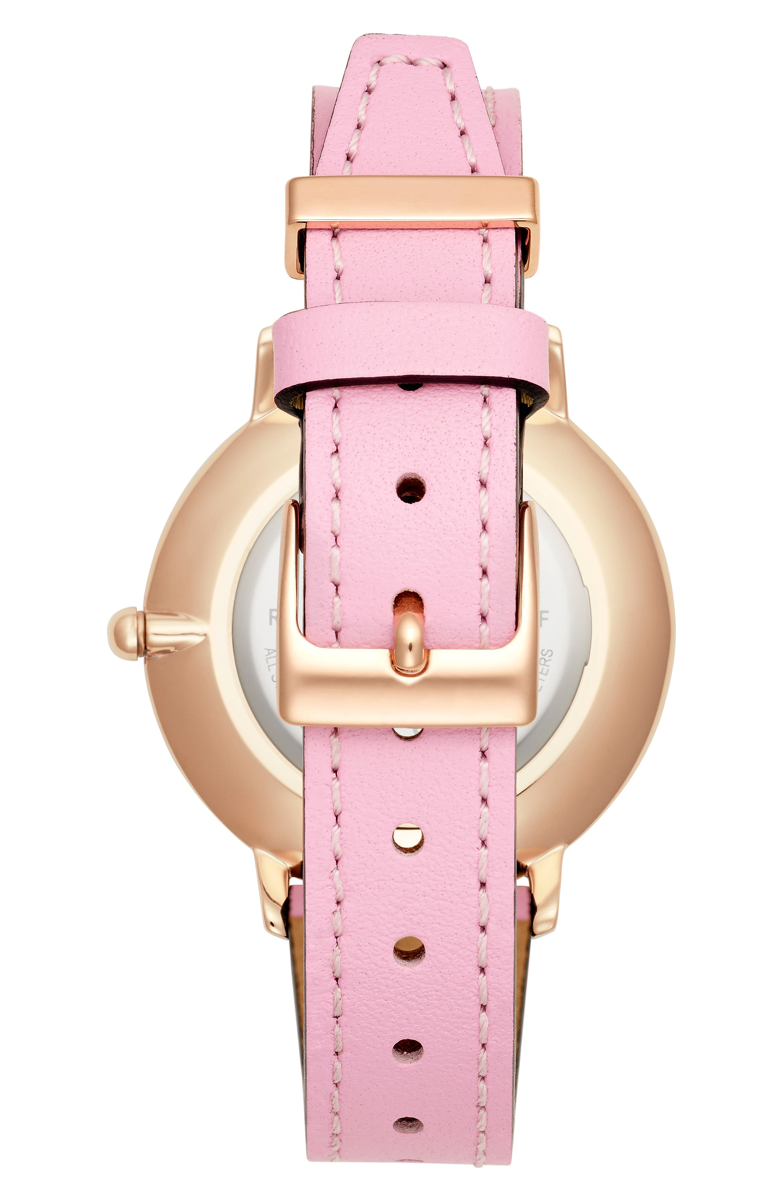 Major Leather Strap Watch, 35mm,                             Alternate thumbnail 2, color,                             PINK/ SILVER WHITE/ ROSE GOLD