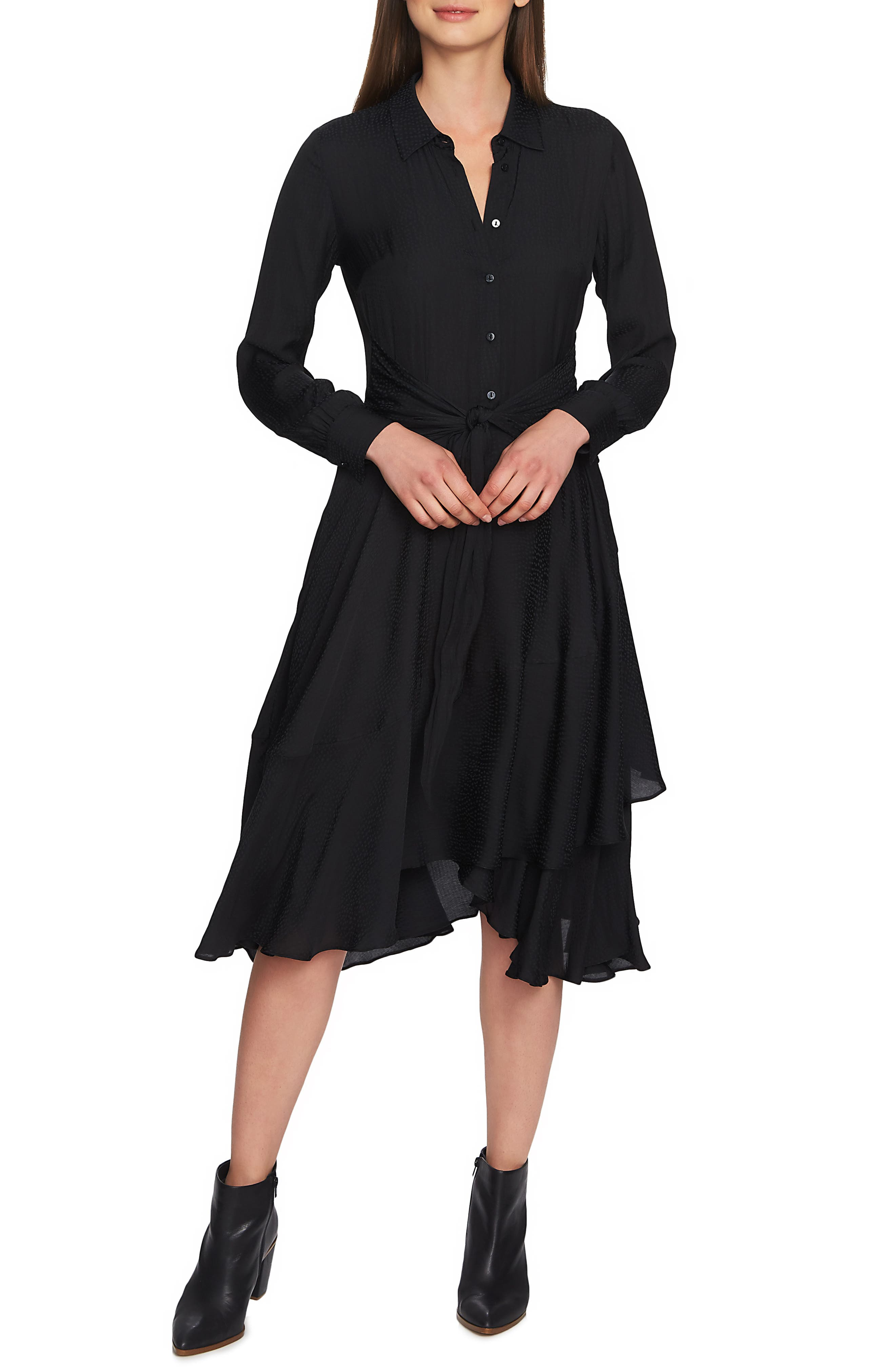 1.state Tie Front Dot Jacquard Dress, Black