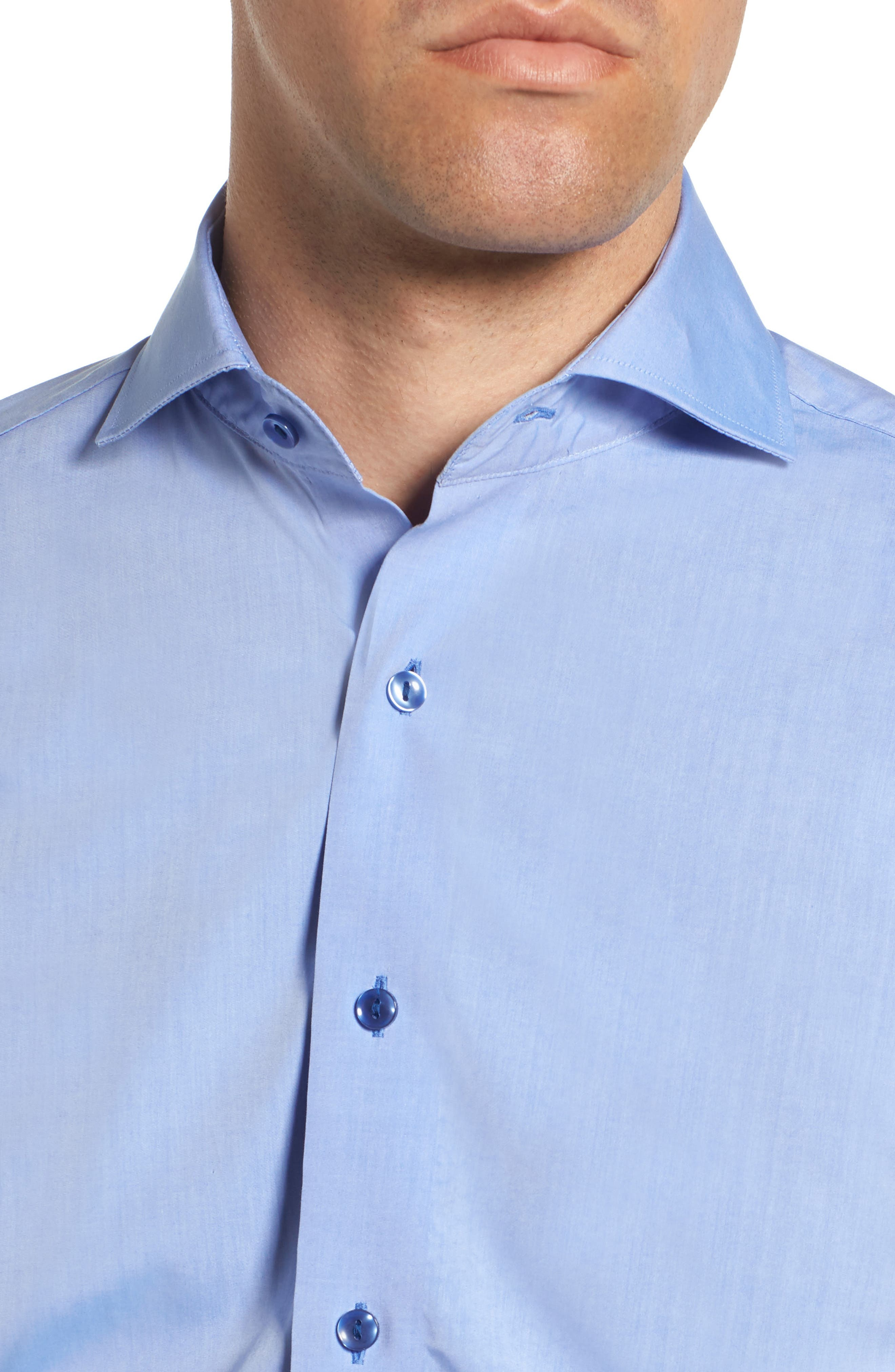 Trim Fit Solid Dress Shirt,                             Alternate thumbnail 2, color,                             BLUE