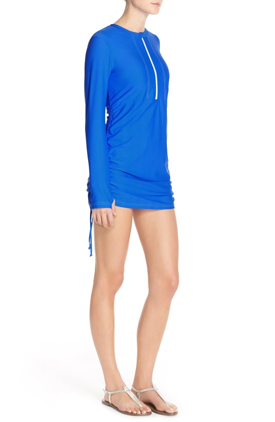 'Sonja' Long Sleeve Half Zip Convertible Swimdress,                             Alternate thumbnail 16, color,
