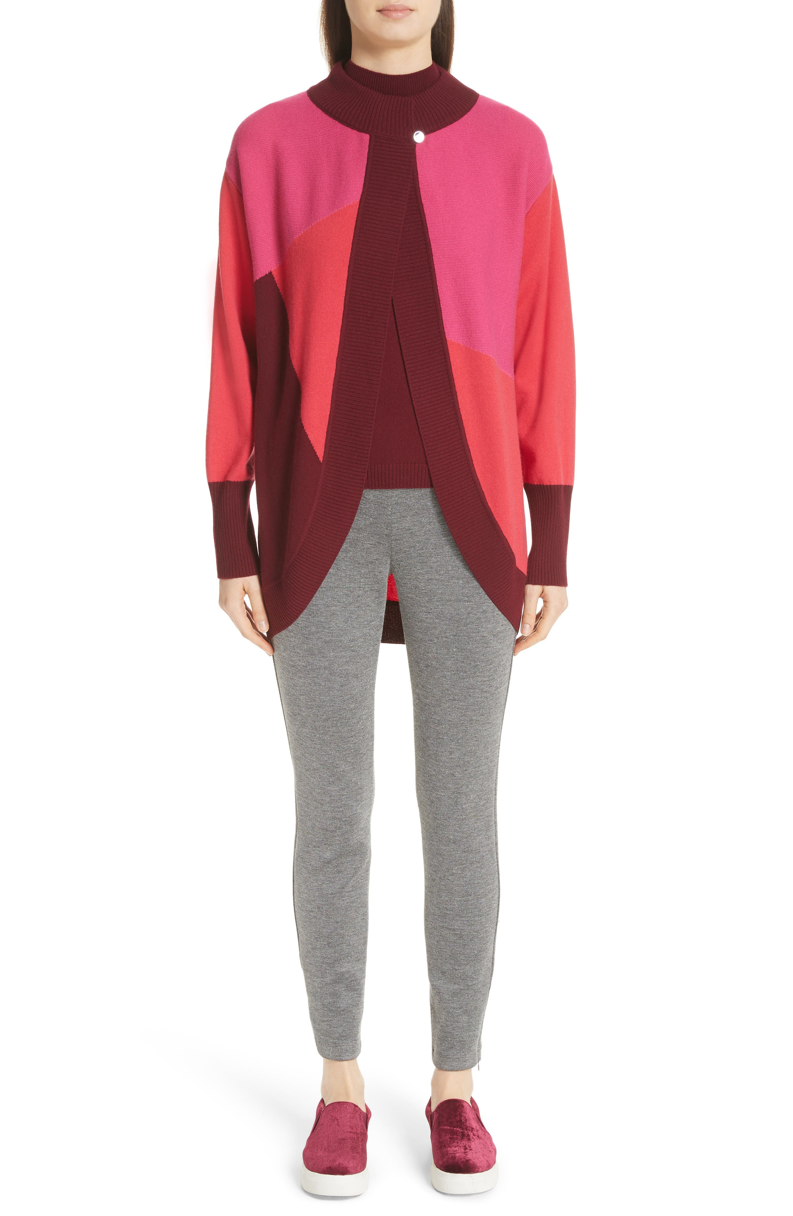 ST. JOHN COLLECTION,                             Colorblock Intarsia Knit Cardigan,                             Alternate thumbnail 7, color,                             650