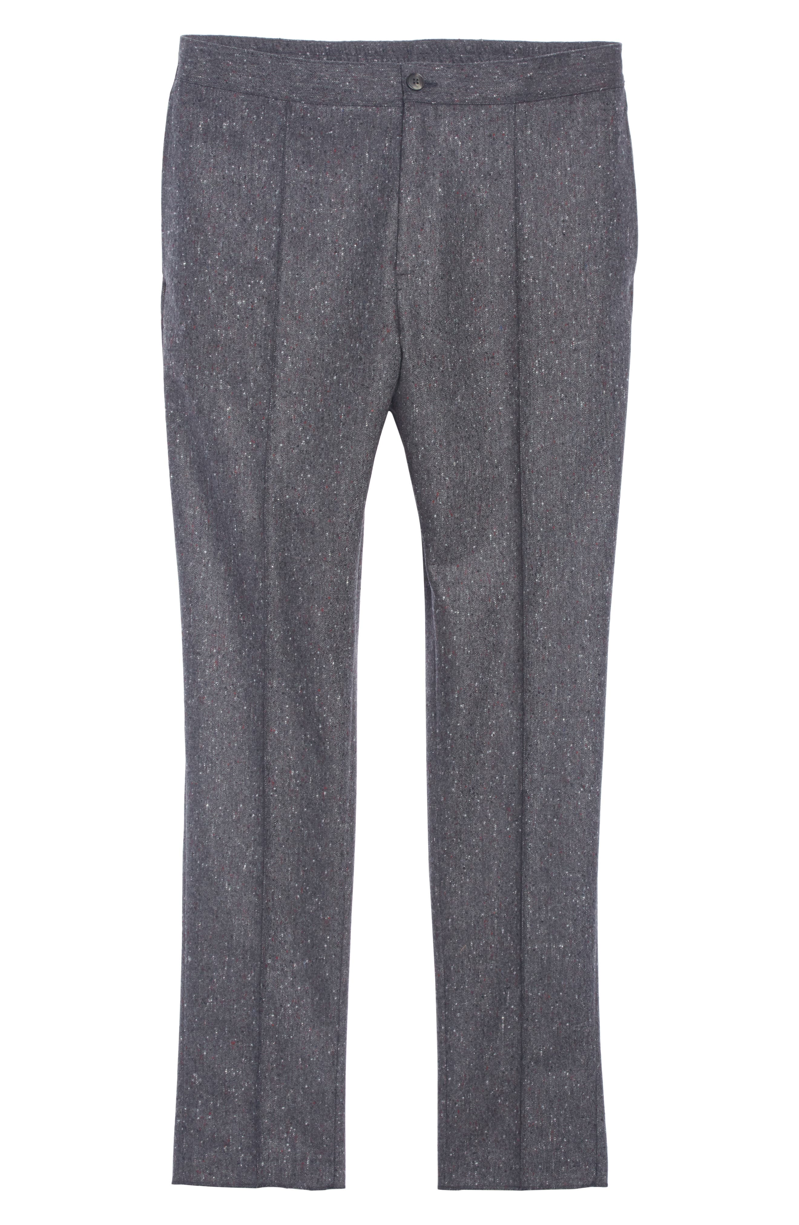 Flat Front Solid Wool Trousers,                             Alternate thumbnail 6, color,                             GREY