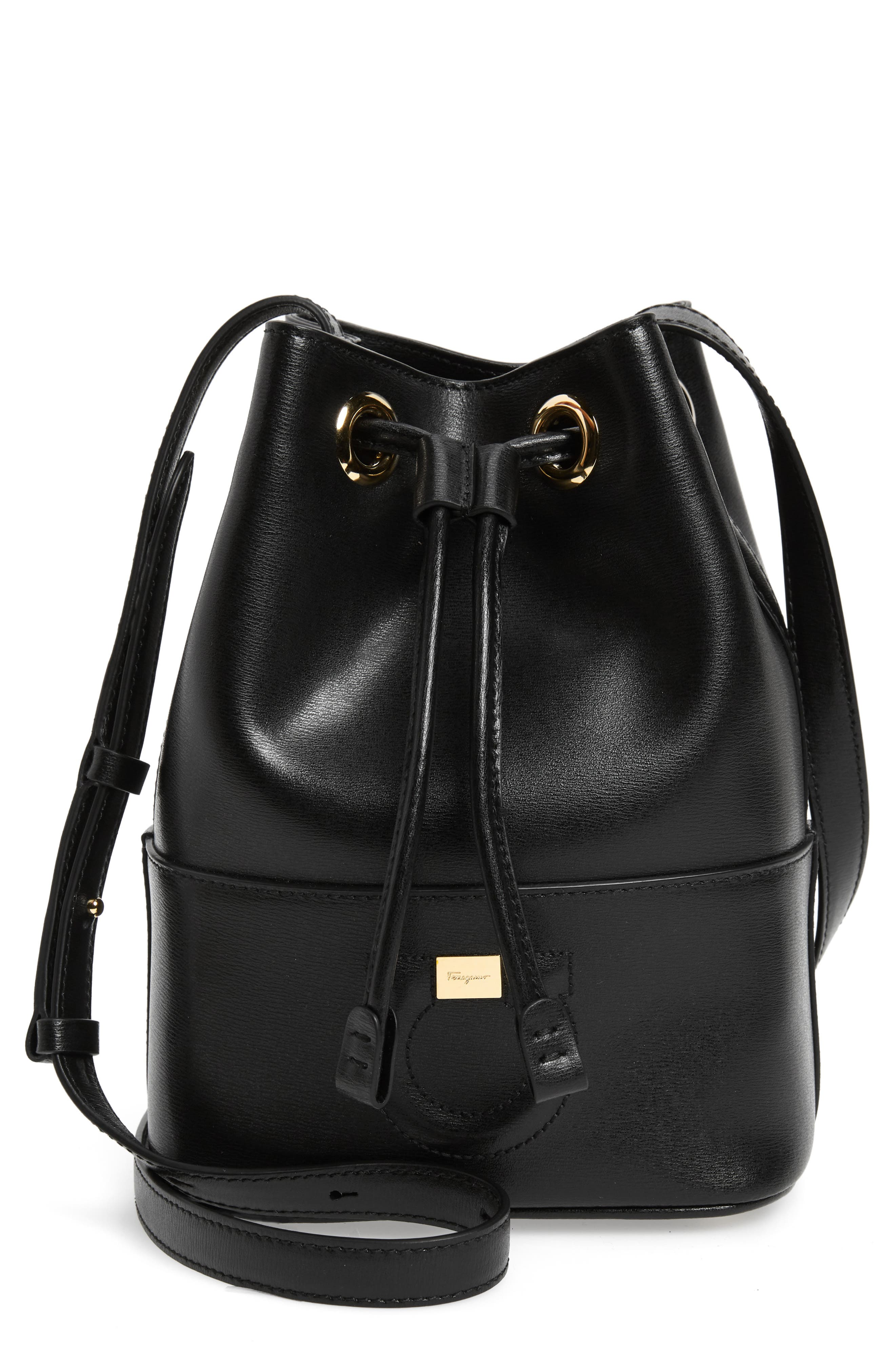 City Quilted Gancio Bucket Bag, Main, color, BLACK