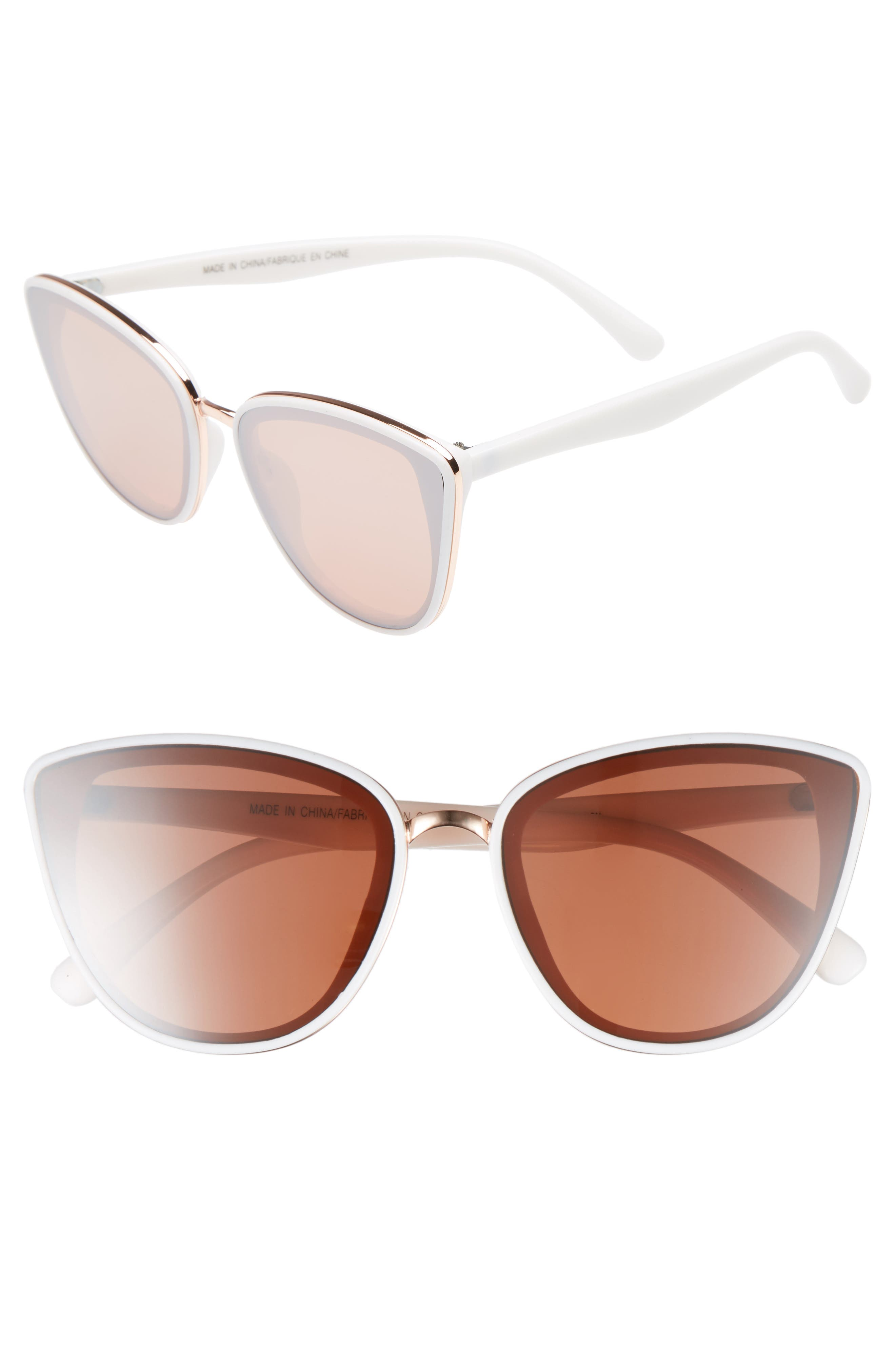 59mm Perfect Cat Eye Sunglasses, Main, color, WHITE/ ROSE GOLD