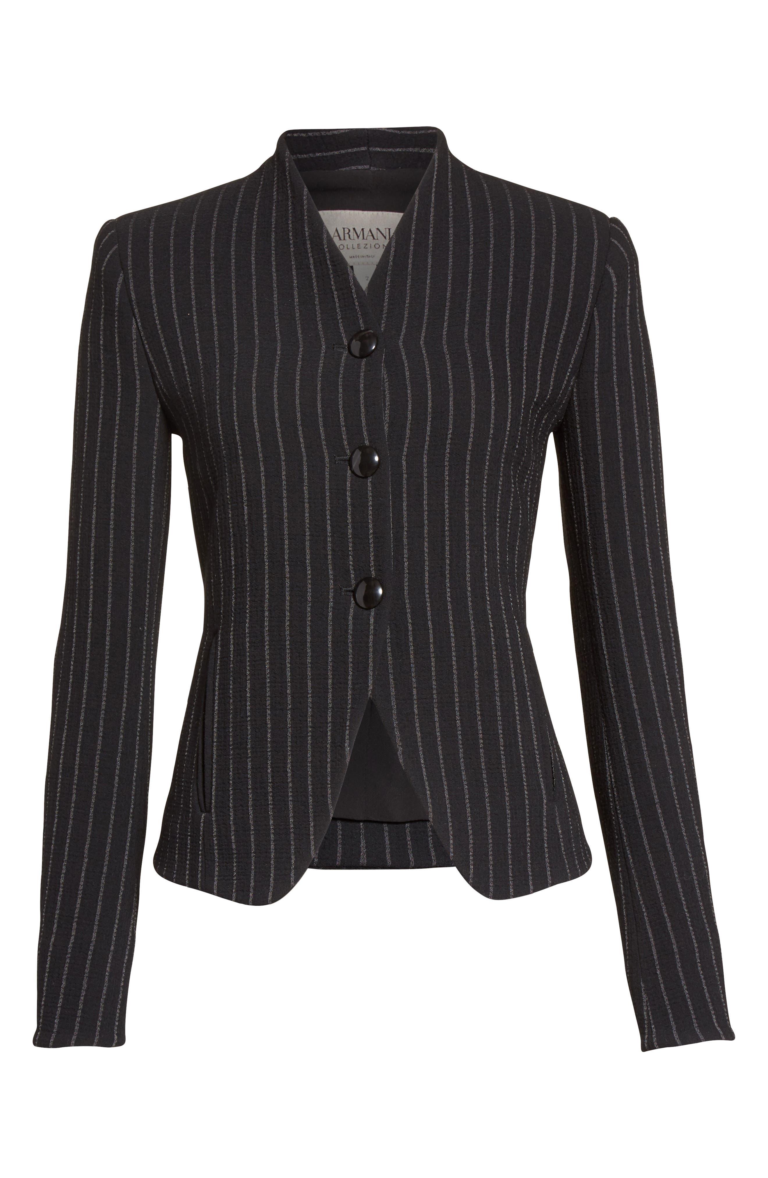 Stretch Wool Pinstripe Jacket,                             Alternate thumbnail 5, color,                             001