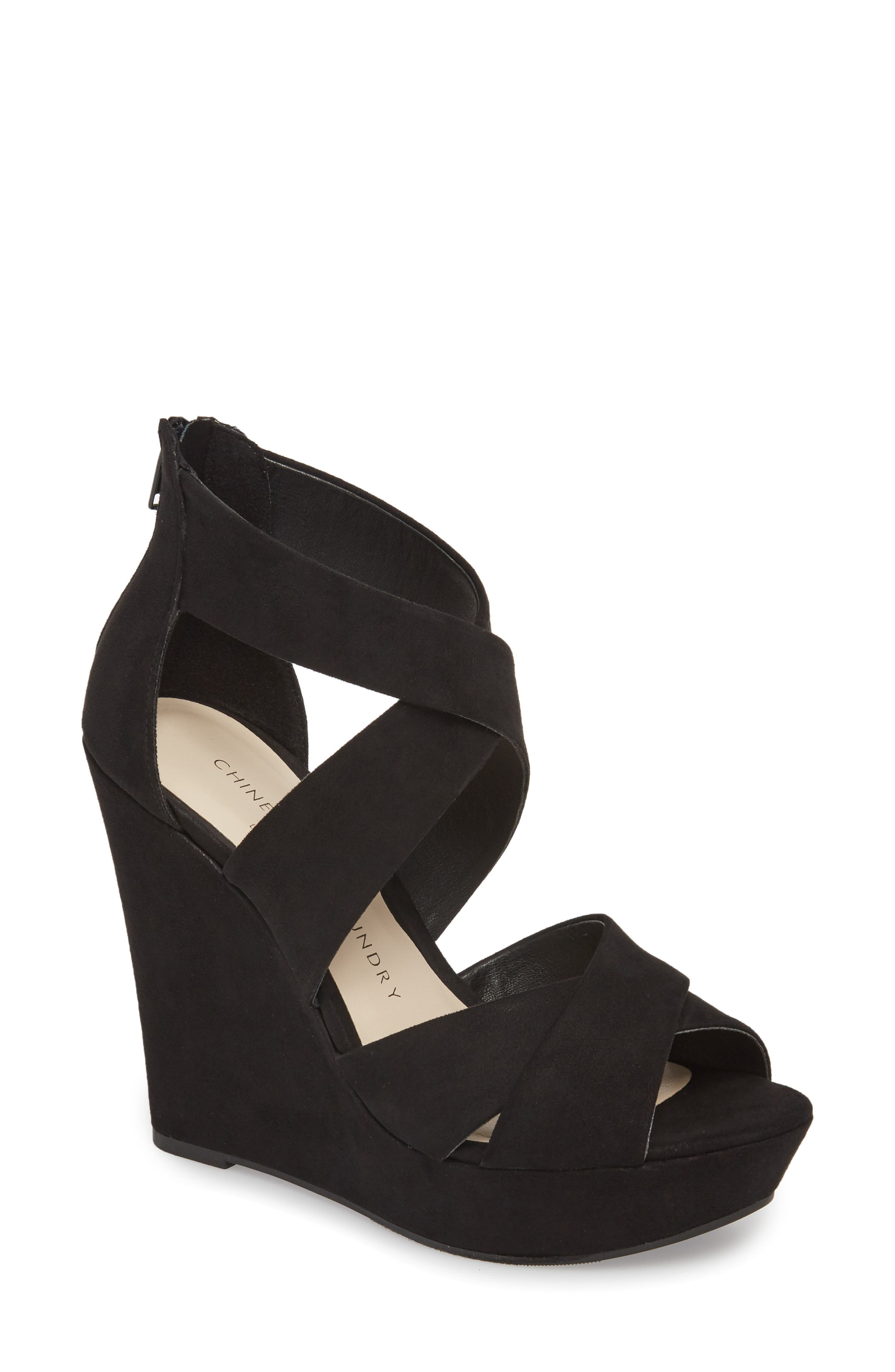 Milani Platform Wedge Sandal,                             Main thumbnail 1, color,                             BLACK
