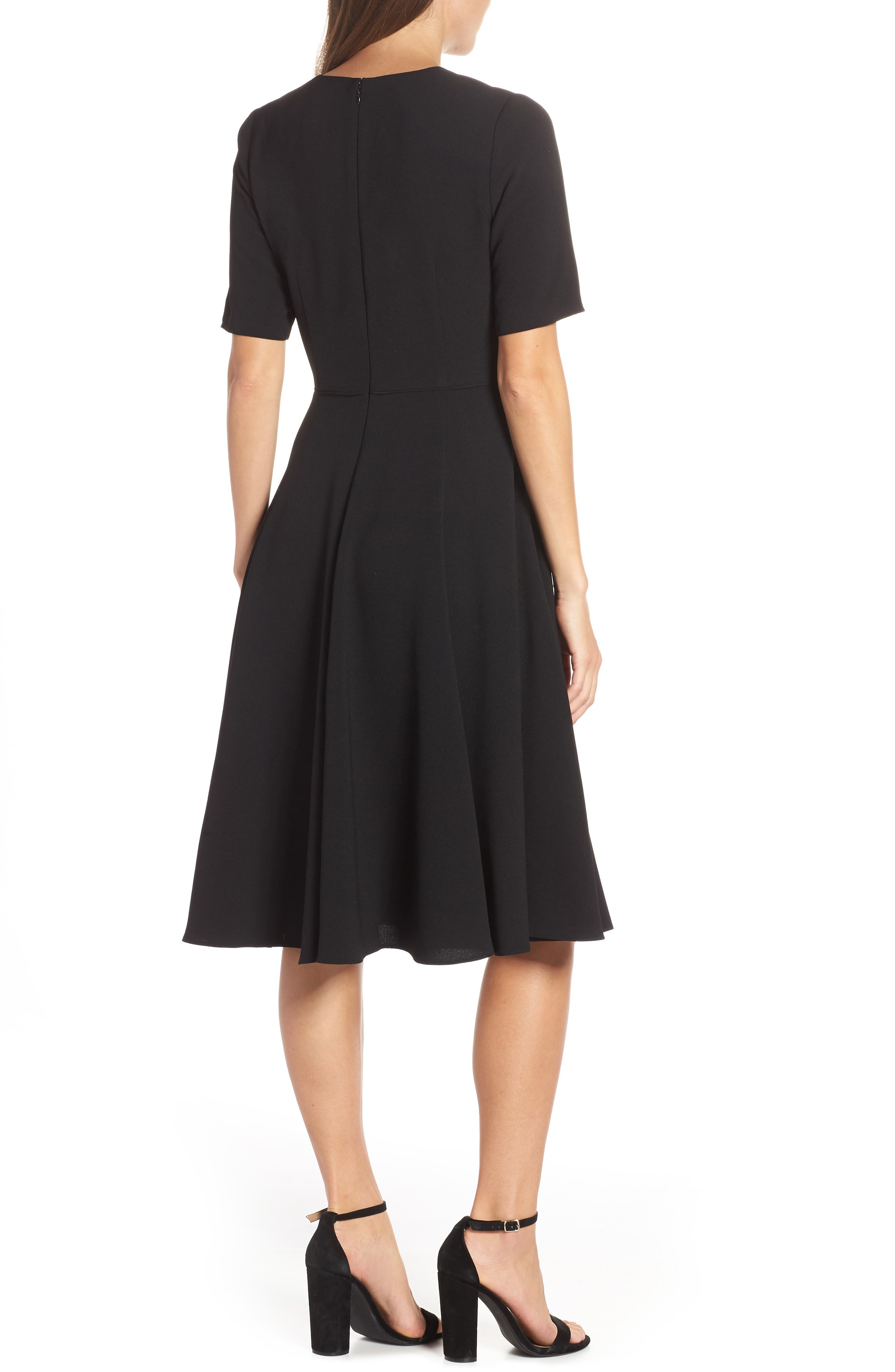Edith City Crepe Fit & Flare Dress,                             Alternate thumbnail 2, color,                             BLACK