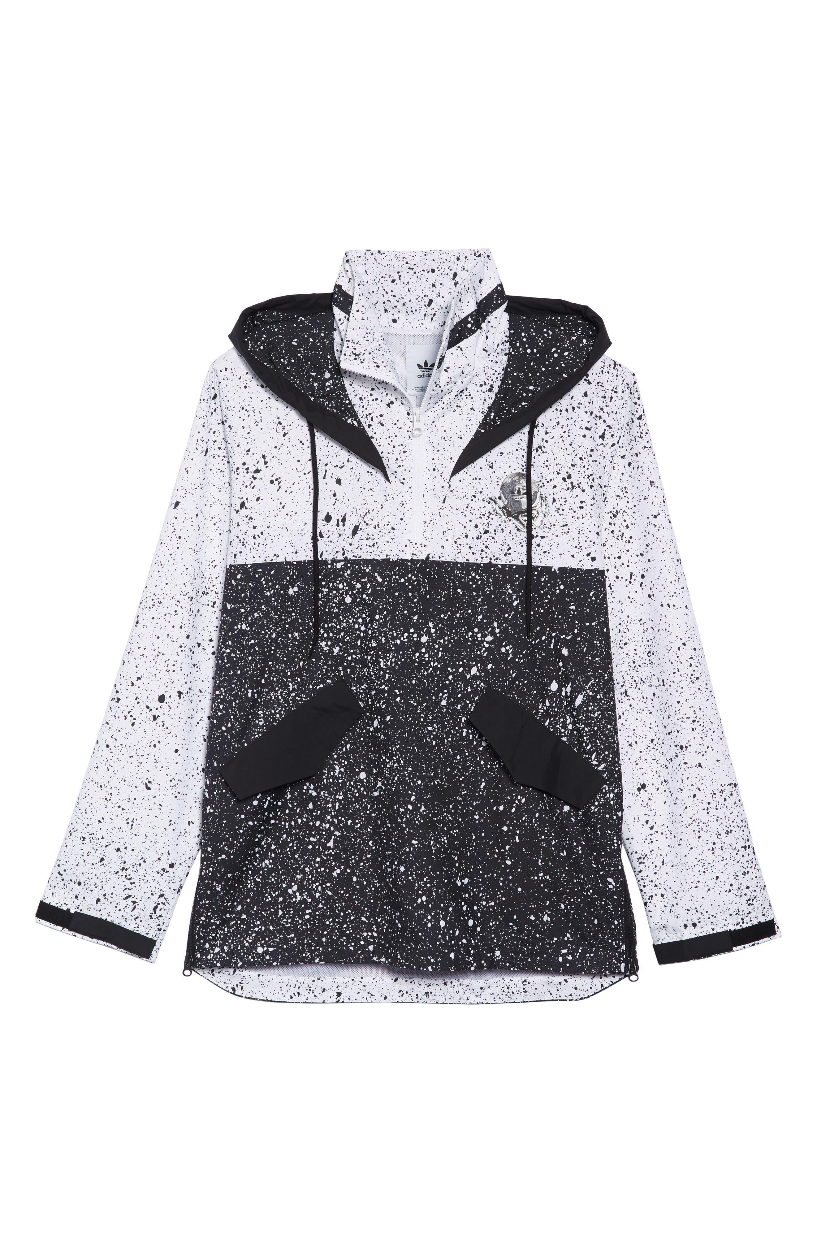 adidas Planetoid Windbreaker,                             Alternate thumbnail 6, color,                             BLACK/ WHITE