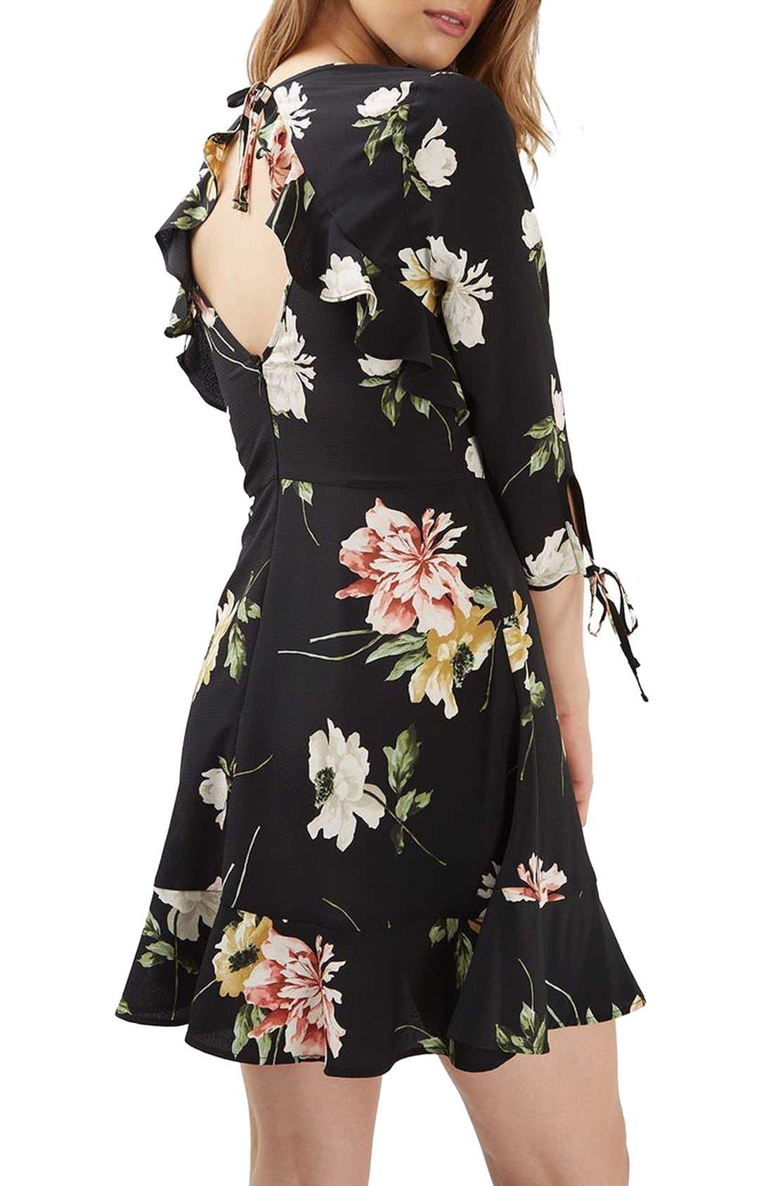 Ruffle Floral Tea Dress,                             Alternate thumbnail 3, color,                             001