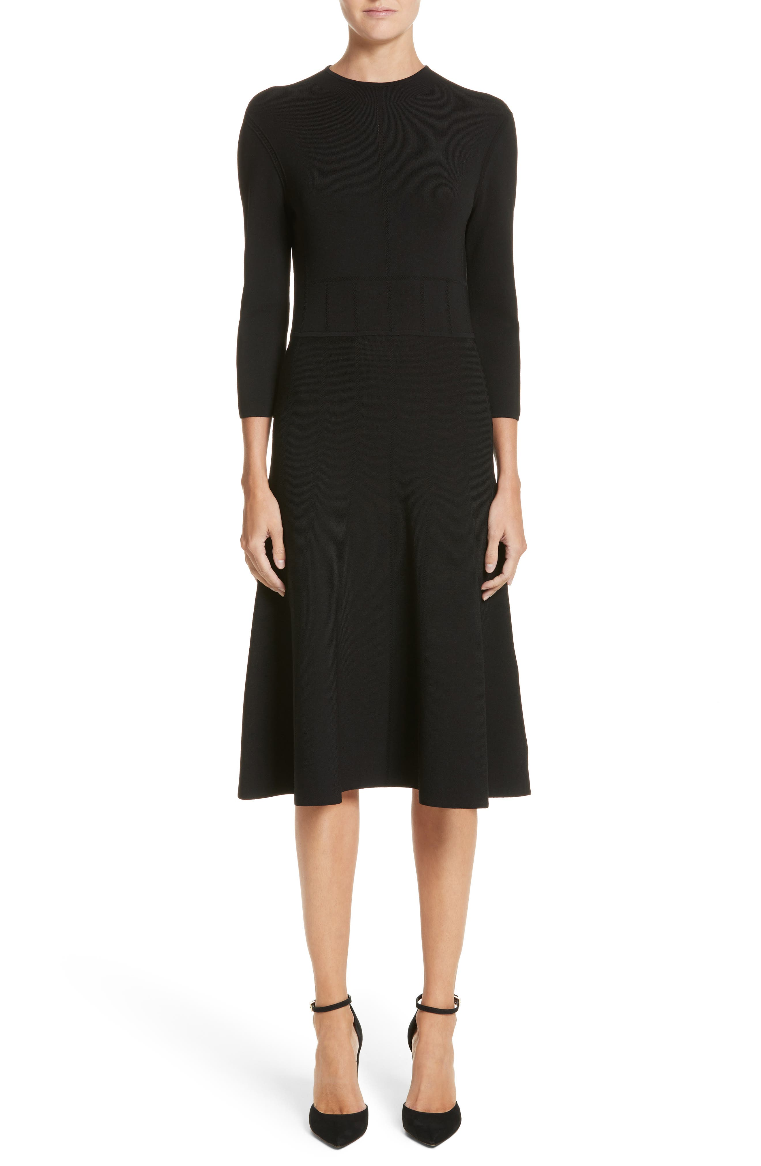 High Neck Fit & Flare Dress,                             Main thumbnail 1, color,                             001