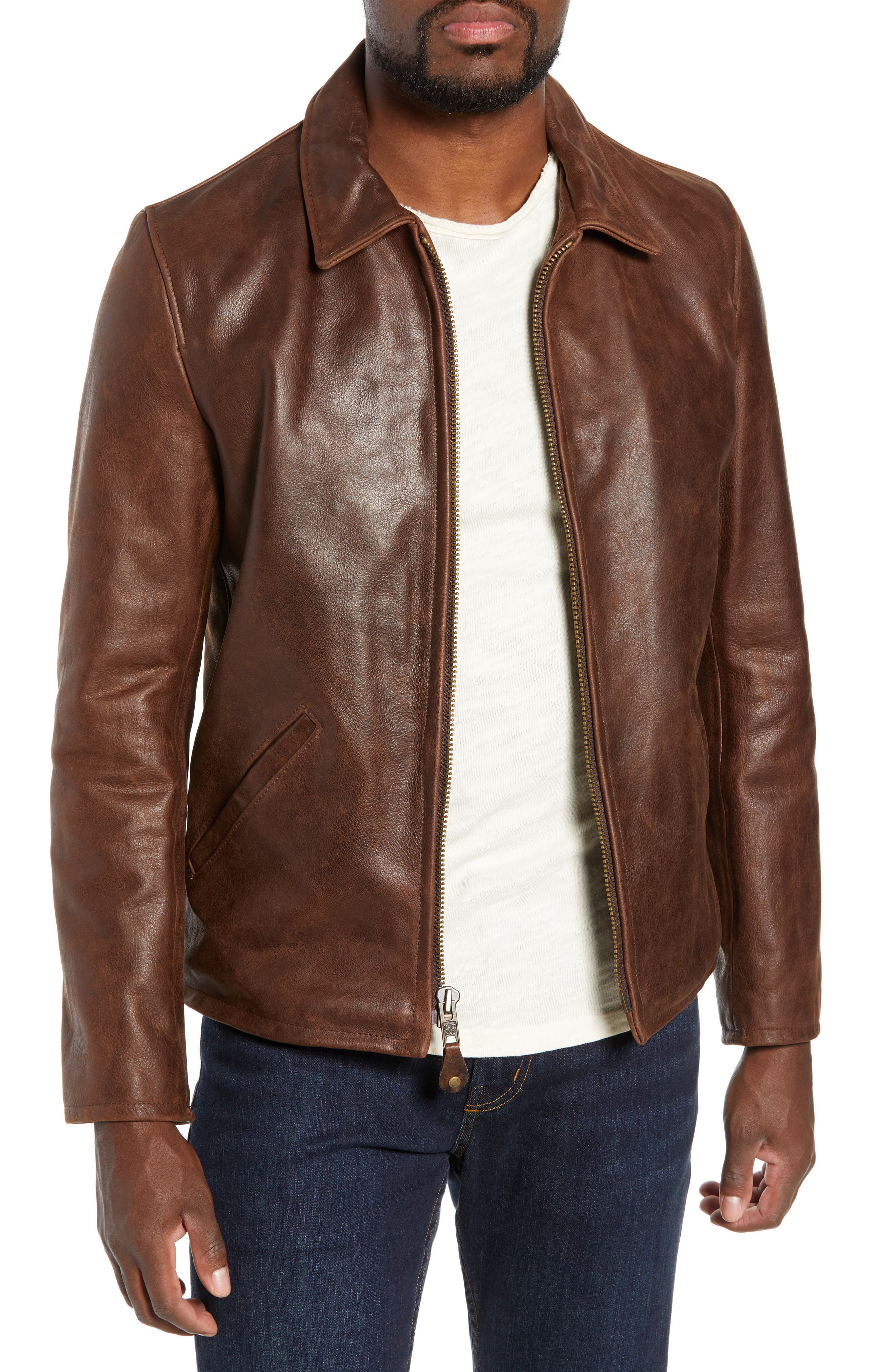 Waxy Naked Buffalo Leather Delivery Jacket,                         Main,                         color, 200