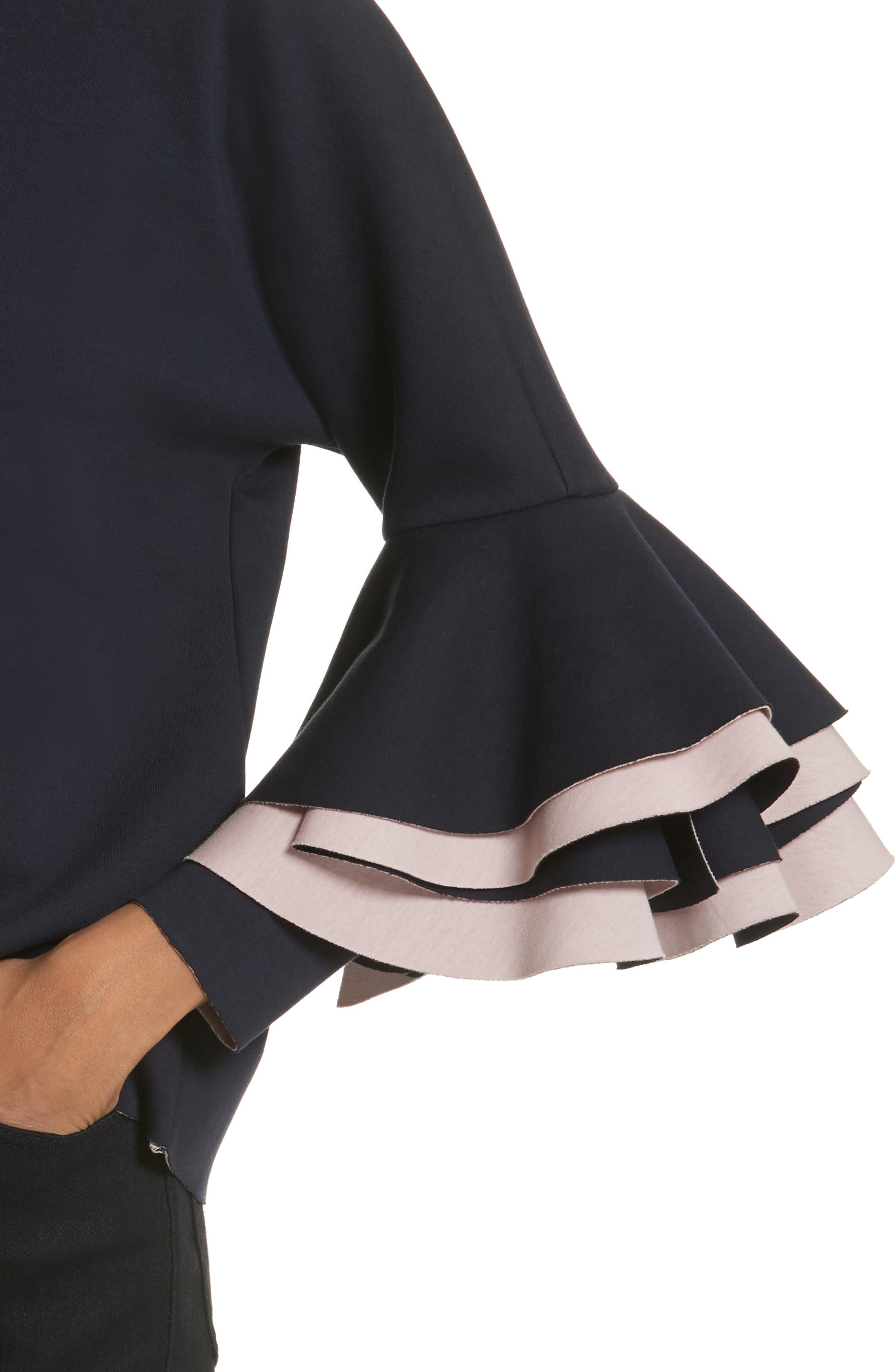 Frill Sleeve Sweatshirt,                             Alternate thumbnail 7, color,