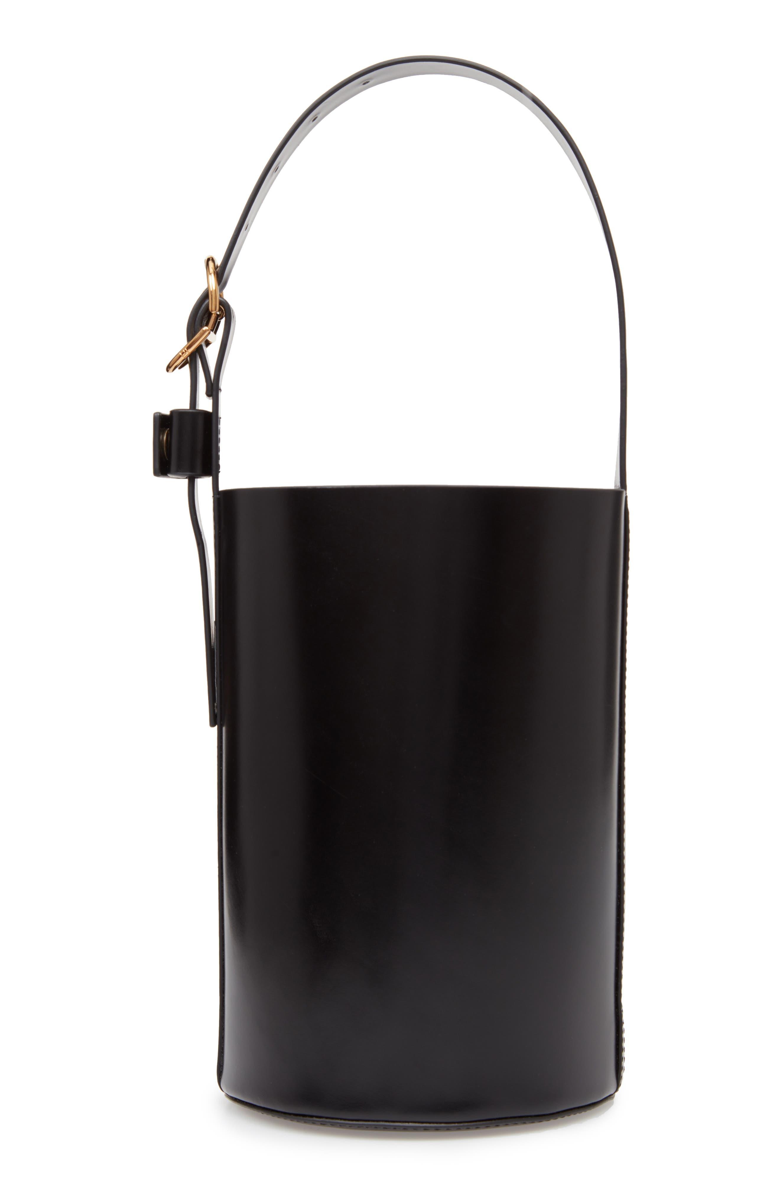 Small Leather Bucket Bag,                             Alternate thumbnail 5, color,                             BLACK/ BLACK