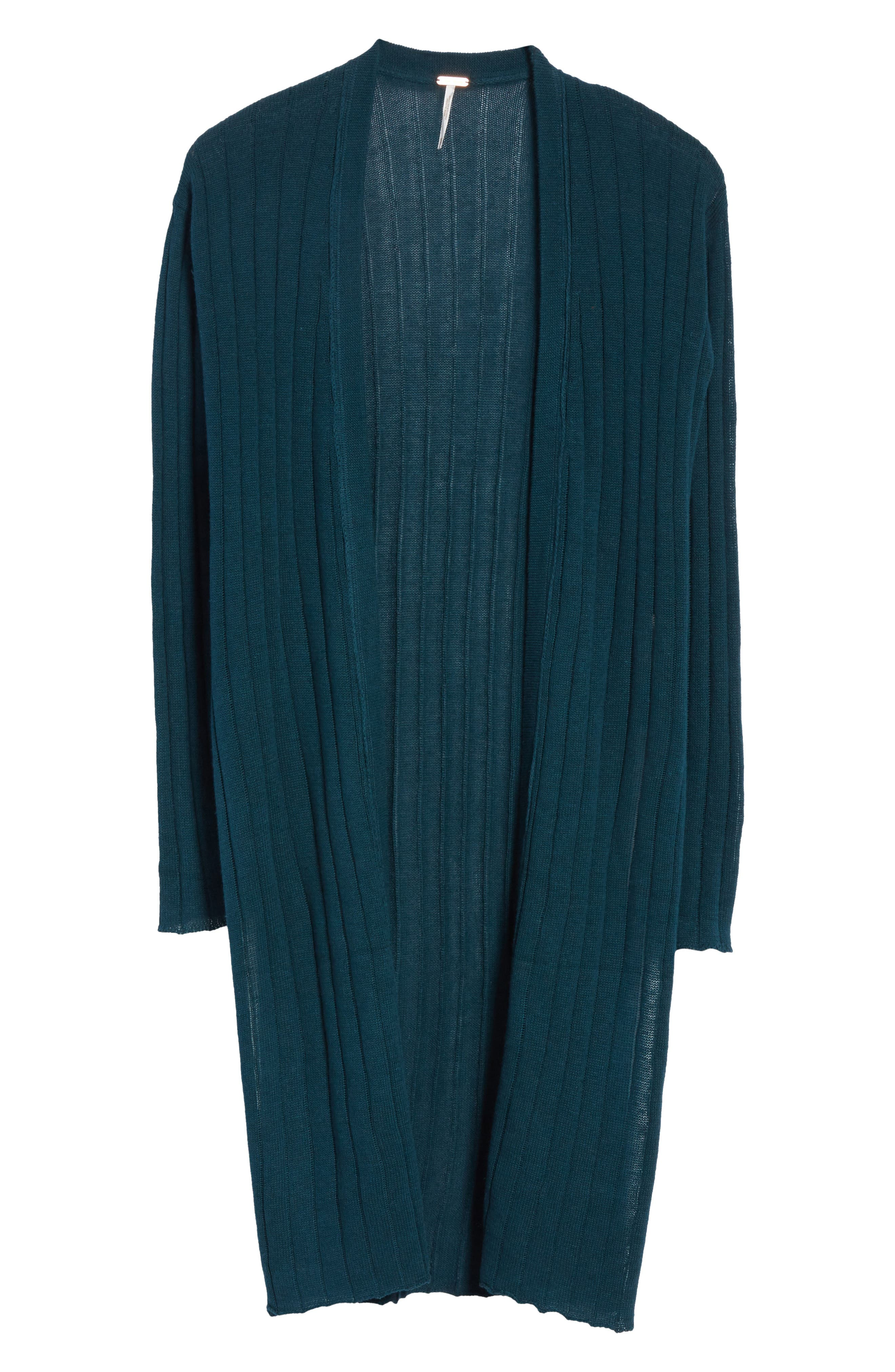 FREE PEOPLE,                             Ribby Long Cardigan,                             Alternate thumbnail 6, color,                             440