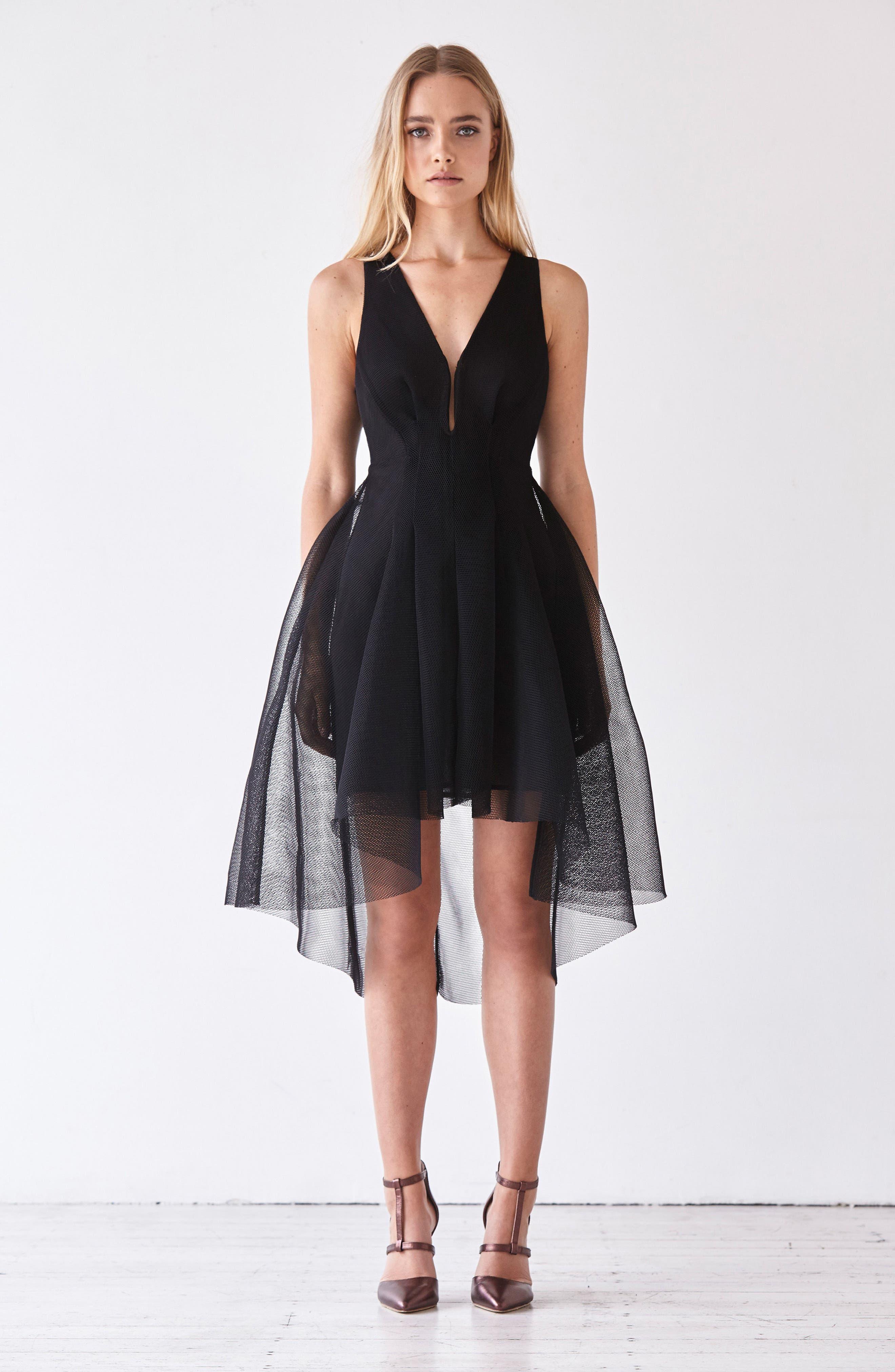 Jewel Fit & Flare Dress,                             Alternate thumbnail 7, color,                             001