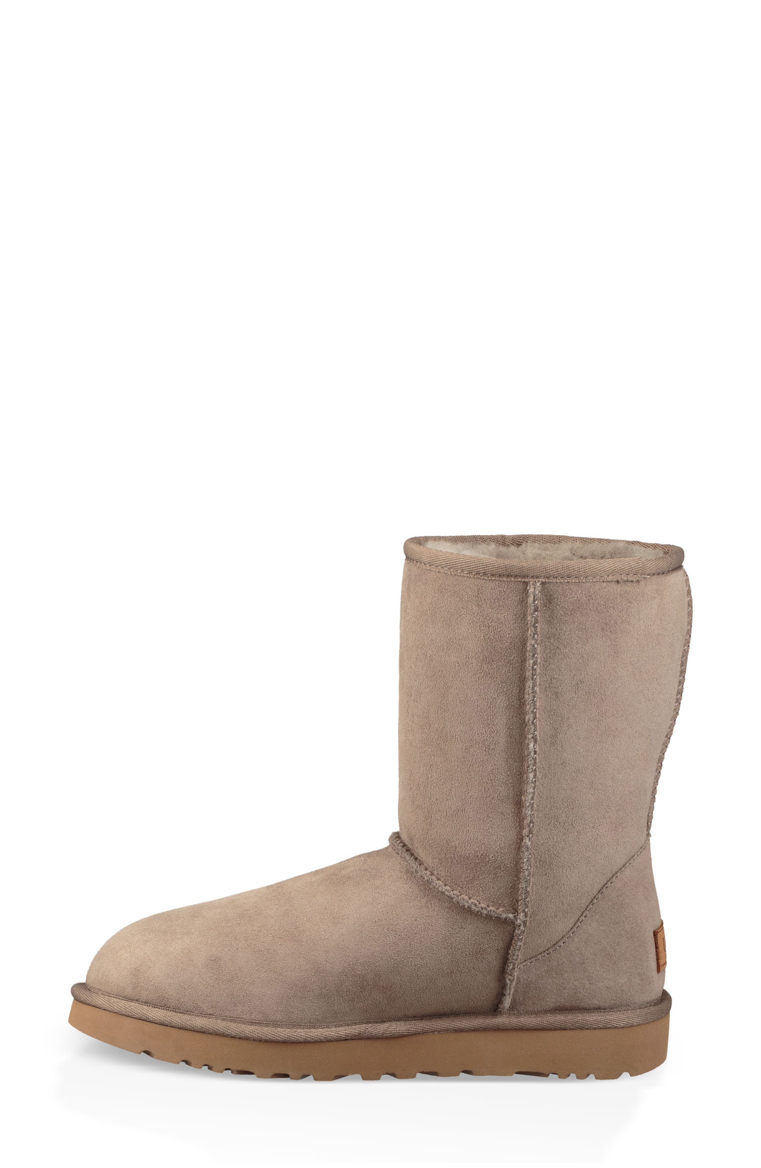 'Classic II' Genuine Shearling Lined Short Boot,                             Alternate thumbnail 7, color,                             BRINDLE SUEDE