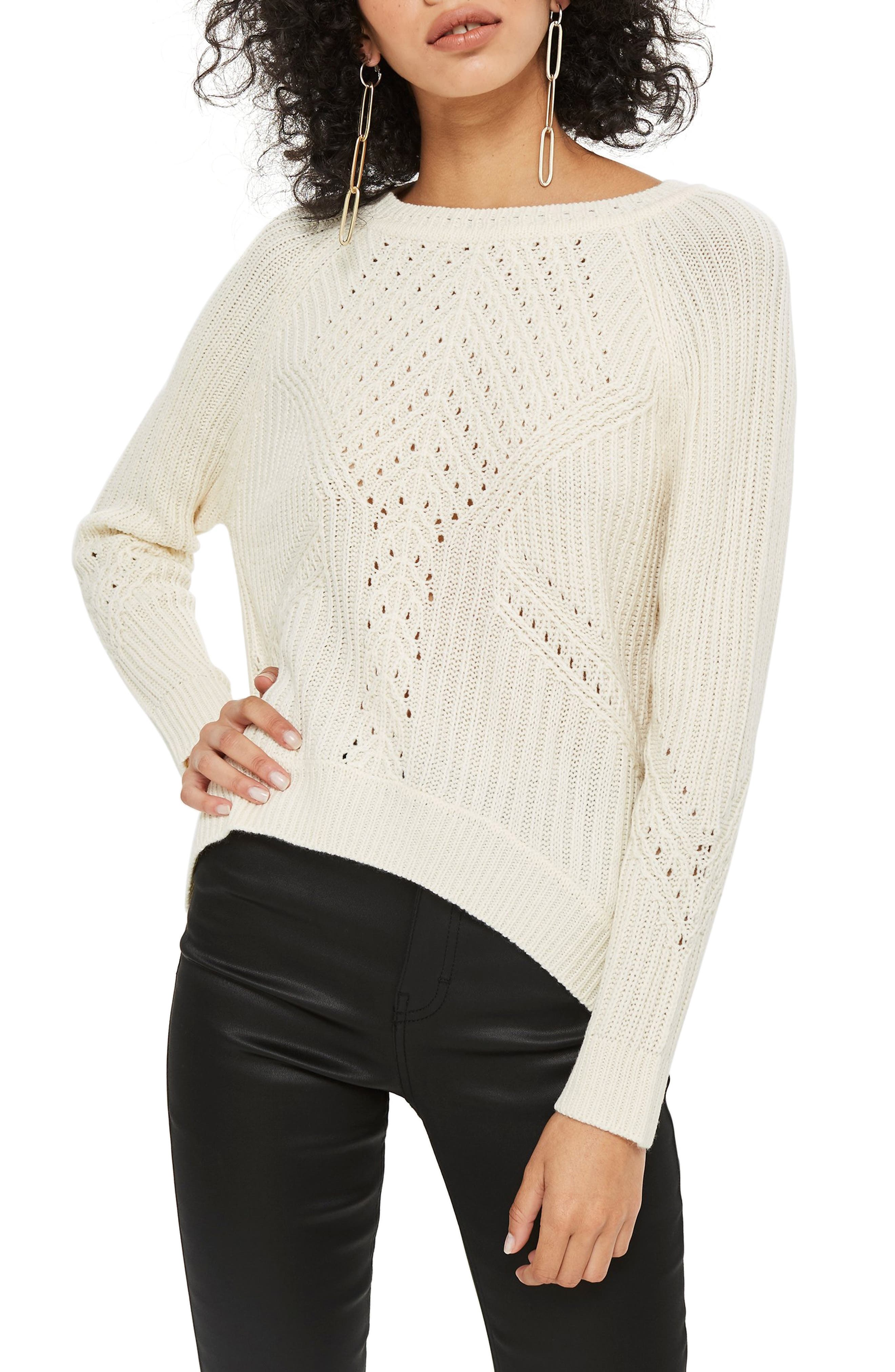 Rib & Pointelle Stitch Sweater,                         Main,                         color, IVORY