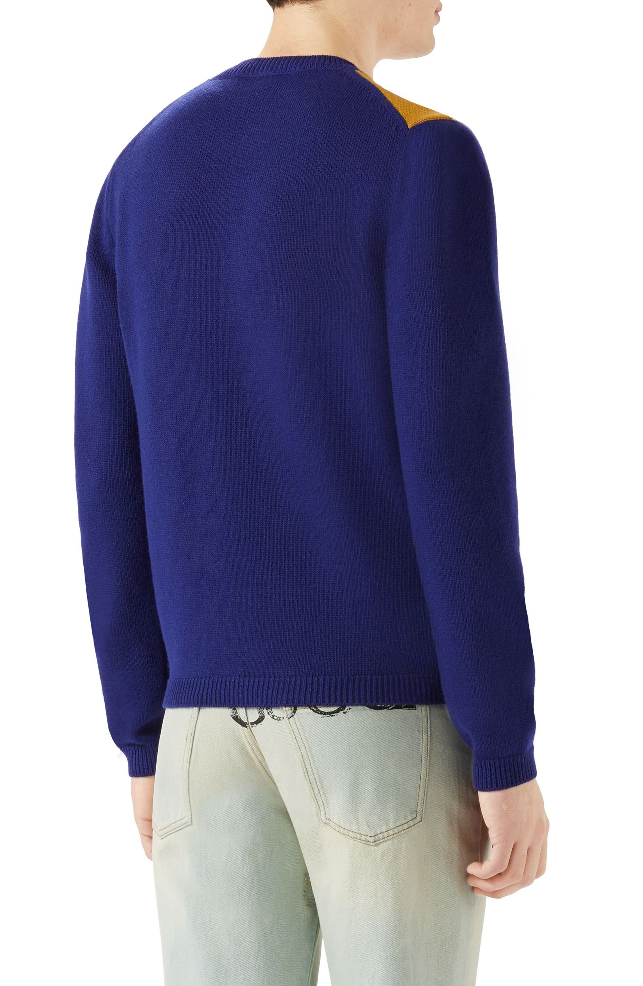 GUCCI,                             Intarsia V-Stripe Wool Sweater,                             Alternate thumbnail 2, color,                             400