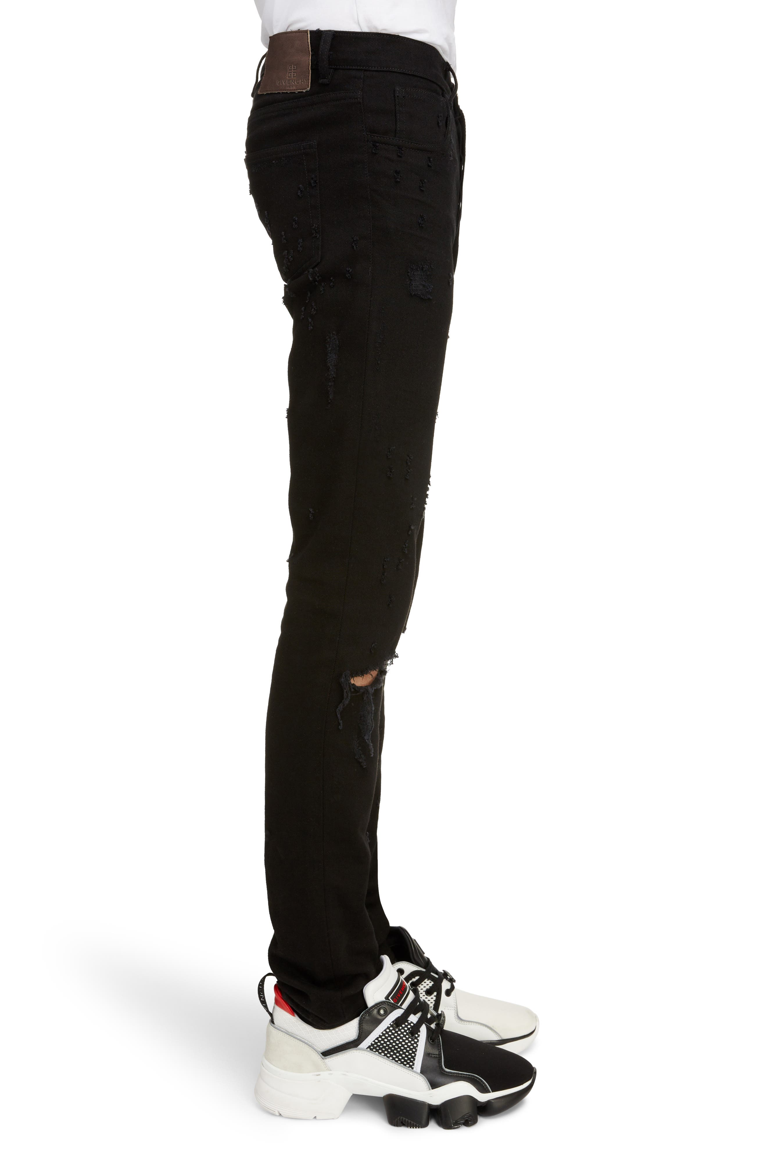 Skinny Fit Distressed Jeans,                             Alternate thumbnail 3, color,                             BLACK