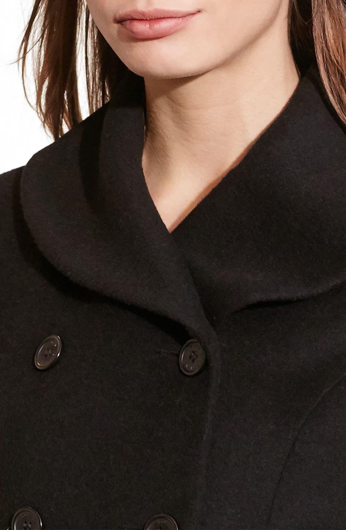 Fit & Flare Military Coat,                             Alternate thumbnail 3, color,                             BLACK