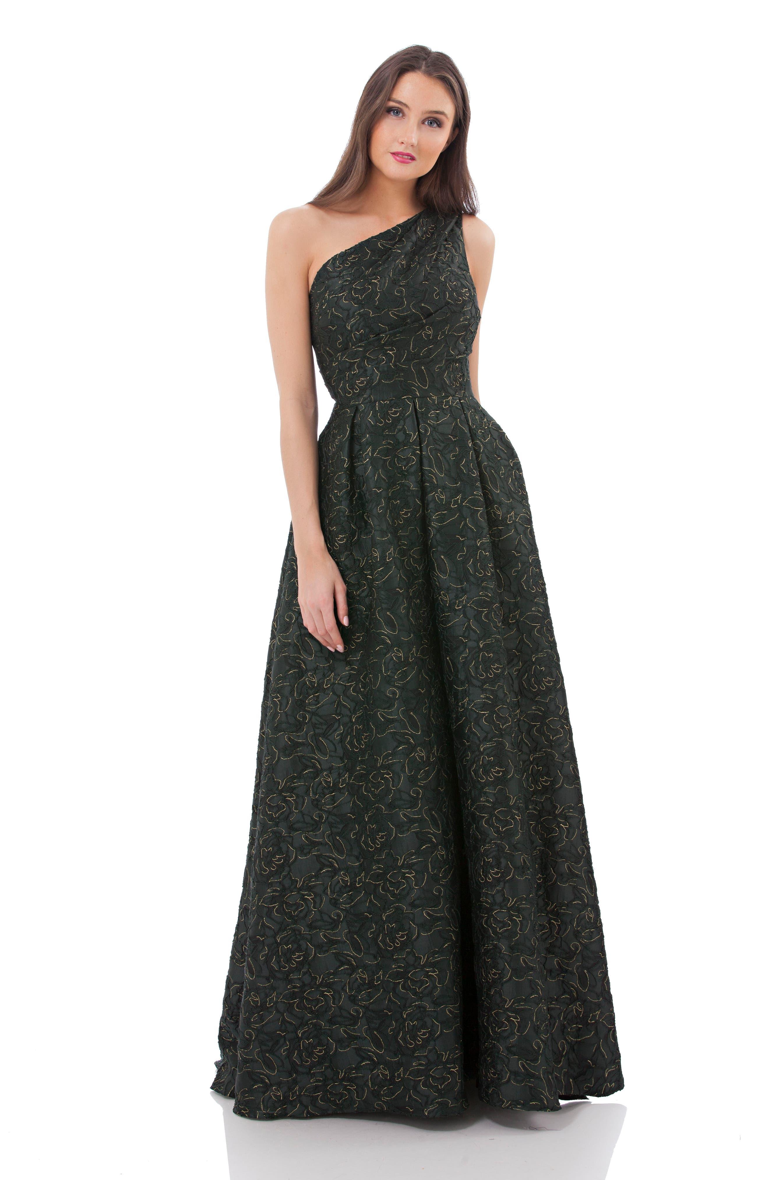 Metallic Brocade One-Shoulder Gown,                             Alternate thumbnail 3, color,                             300