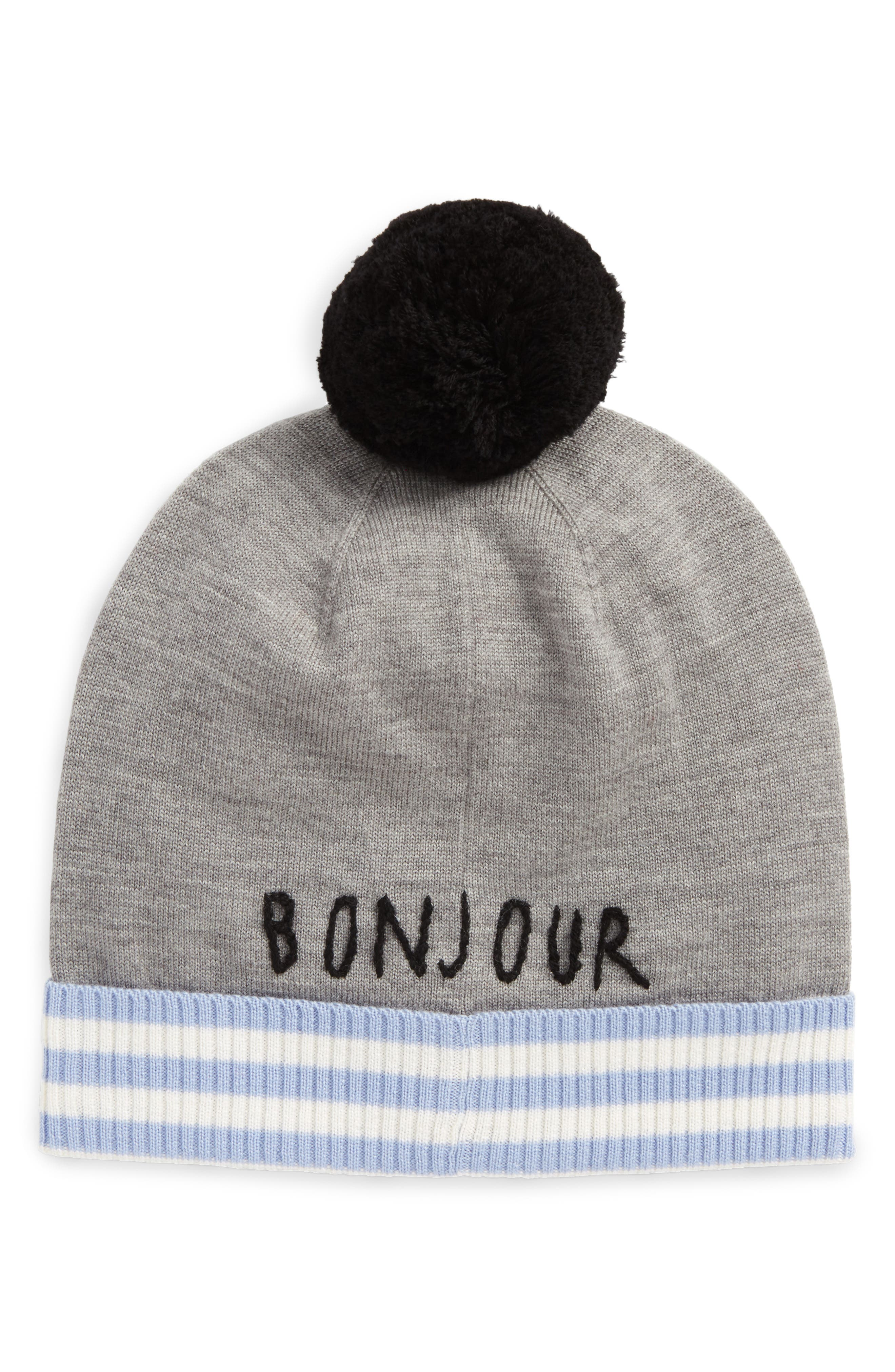 intarsia french bulldog wool beanie,                             Alternate thumbnail 2, color,