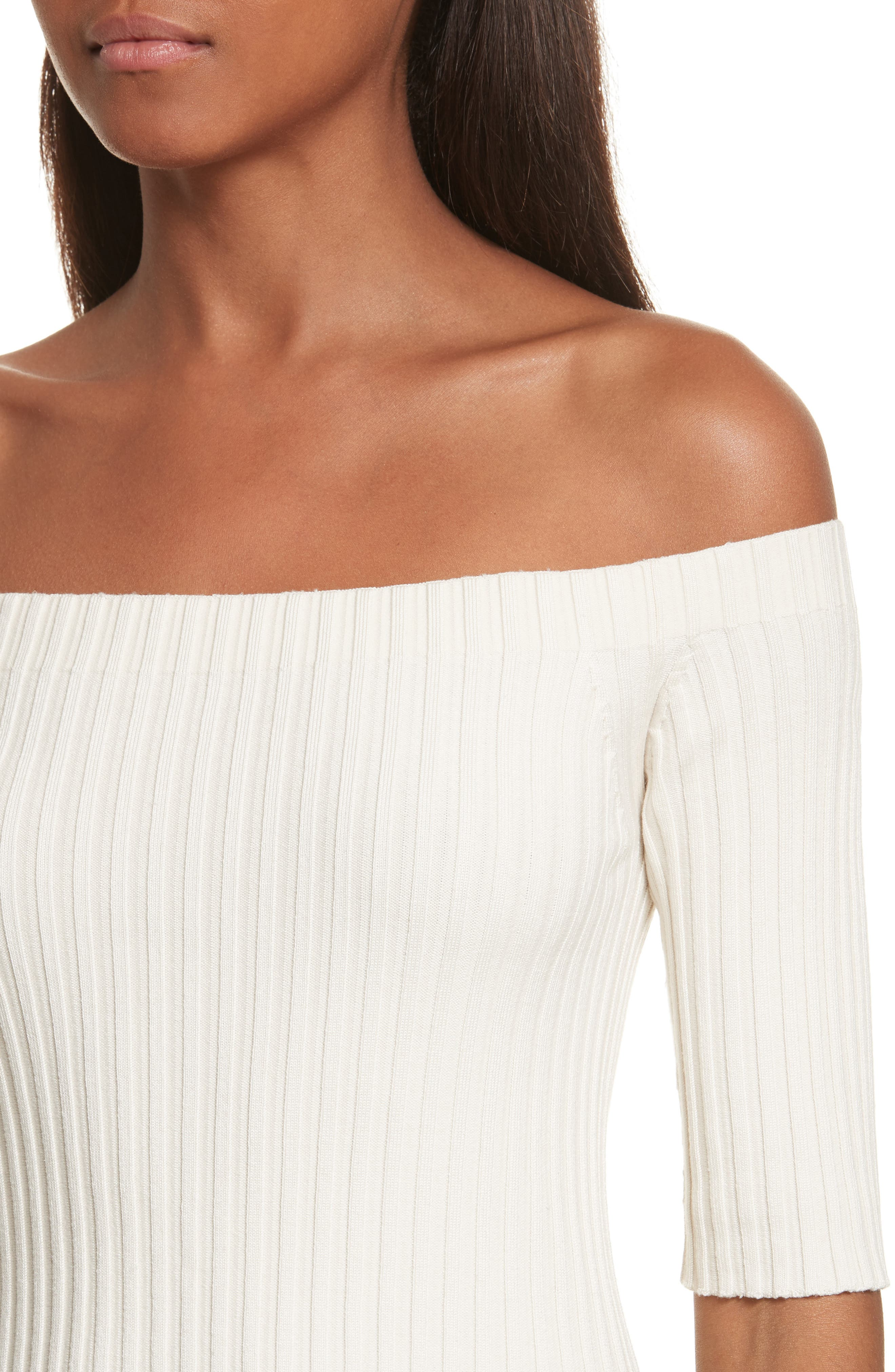 Rib Knit Stretch Silk Off the Shoulder Top,                             Alternate thumbnail 8, color,