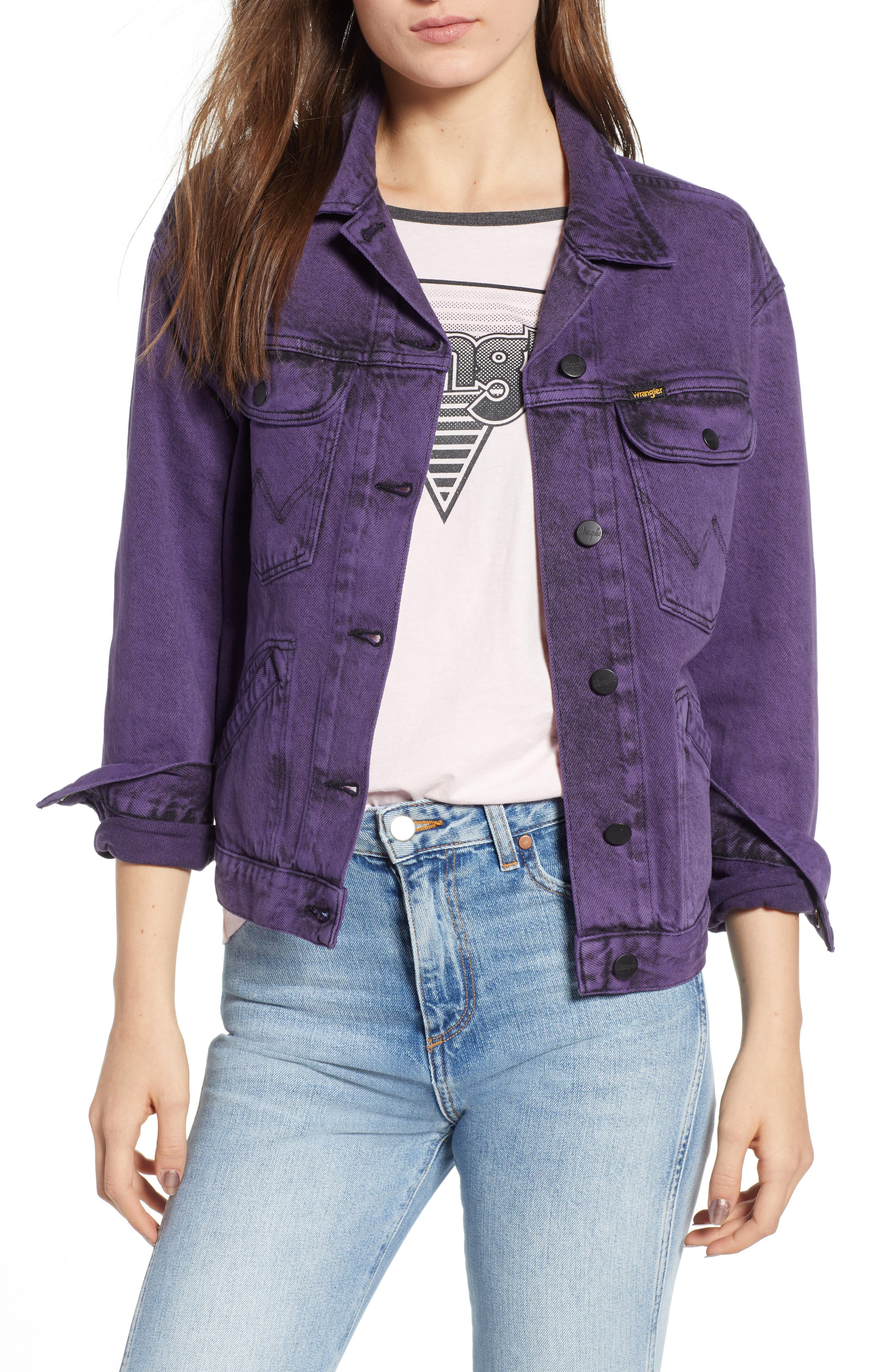 Denim Jacket,                         Main,                         color, PURPLE POP