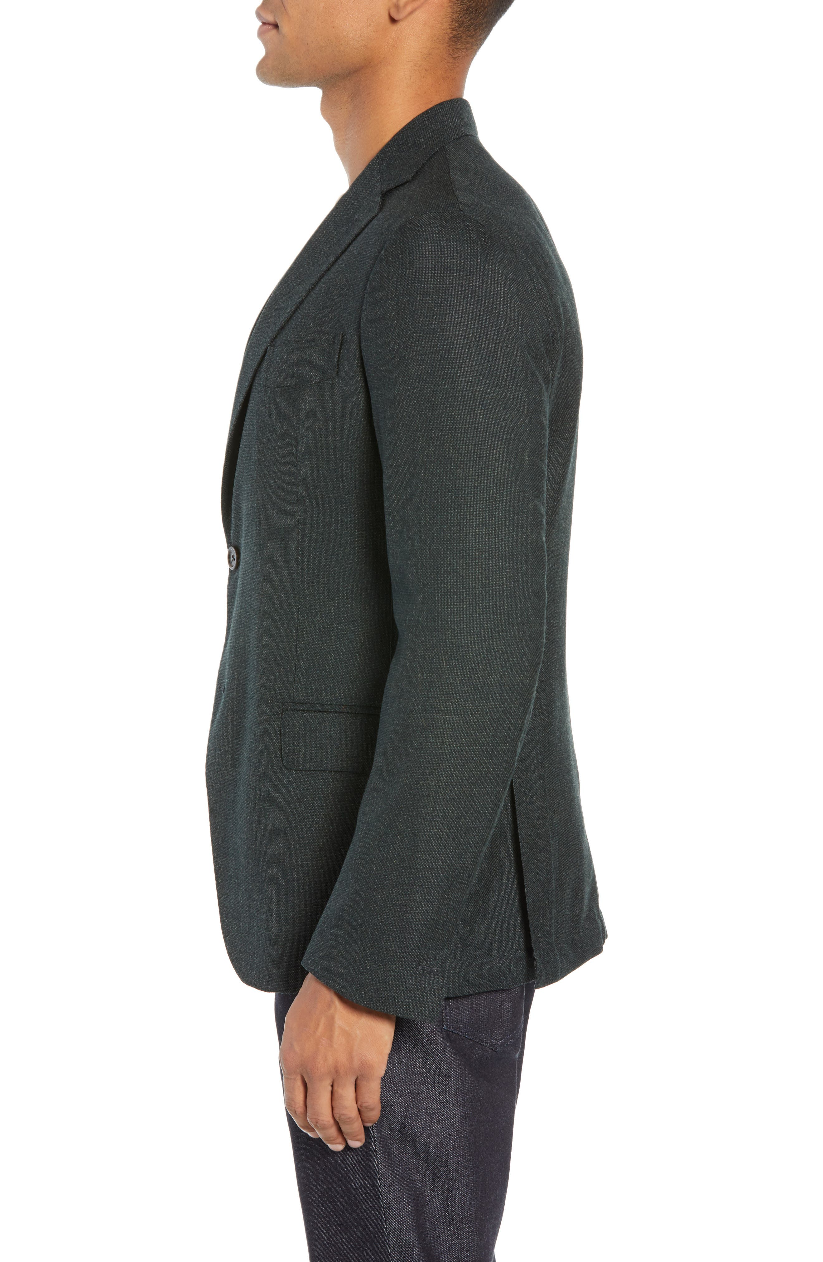 Trim Fit Wool Blazer,                             Alternate thumbnail 3, color,                             GREEN
