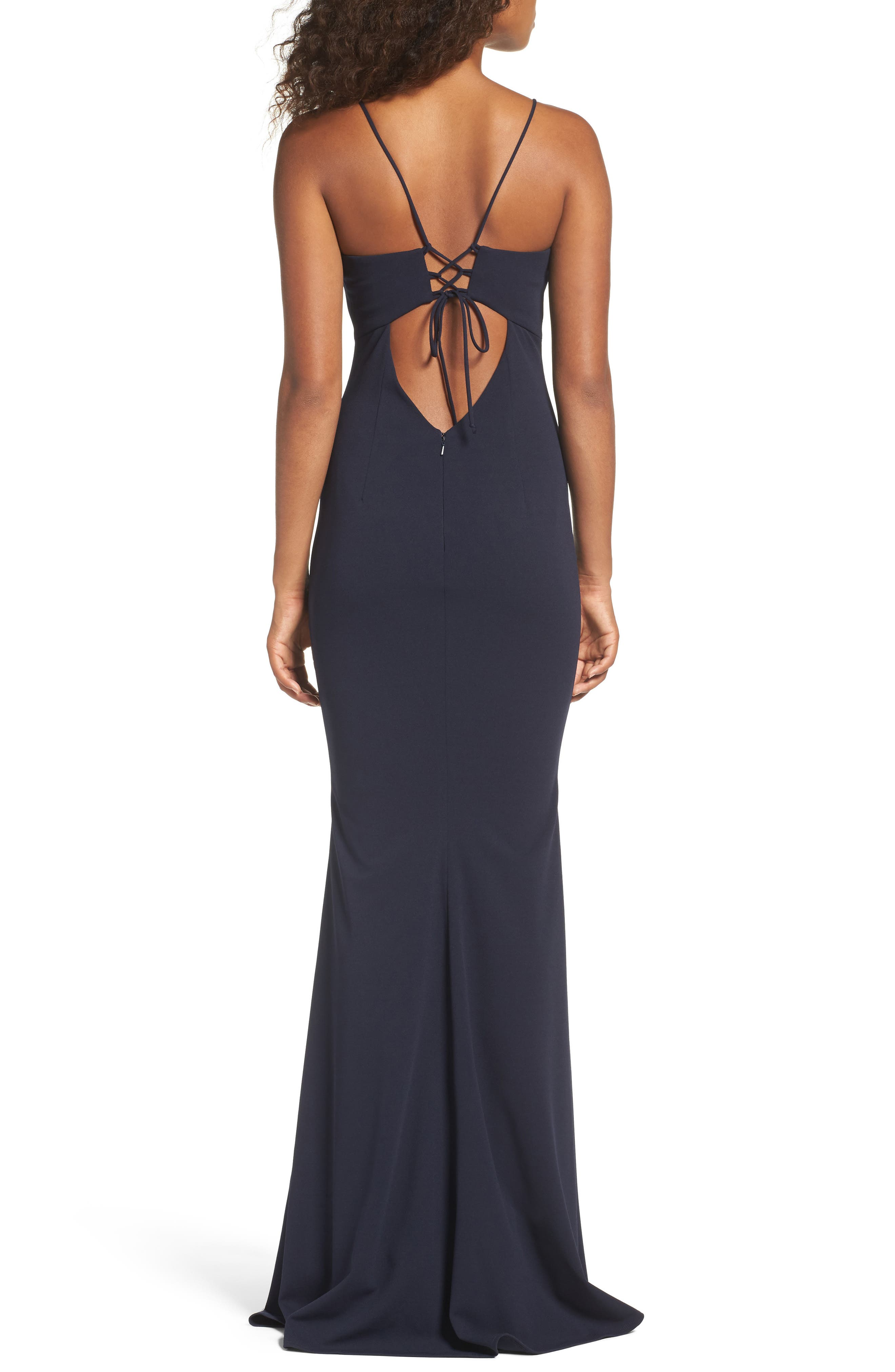 Luna Stretch Crepe Gown,                             Alternate thumbnail 2, color,                             NAVY