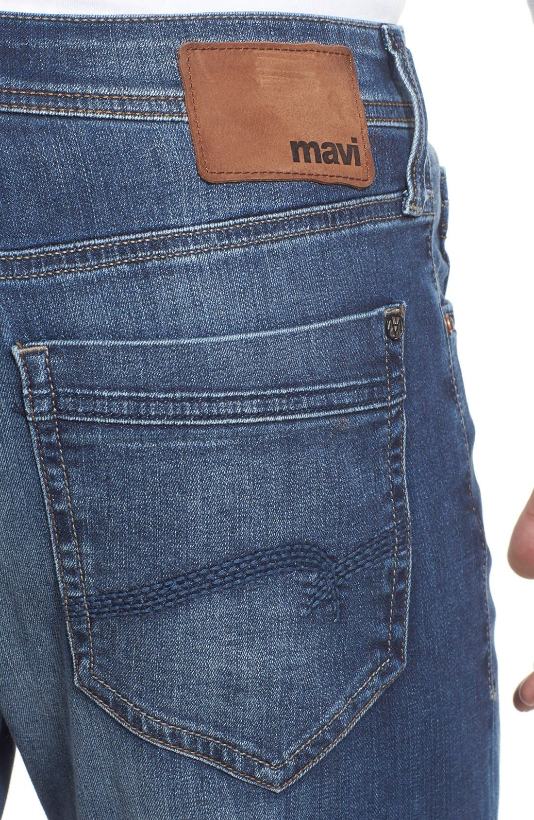 'Matt' Relaxed Fit Jeans,                             Alternate thumbnail 4, color,                             MID INDIGO COOPER