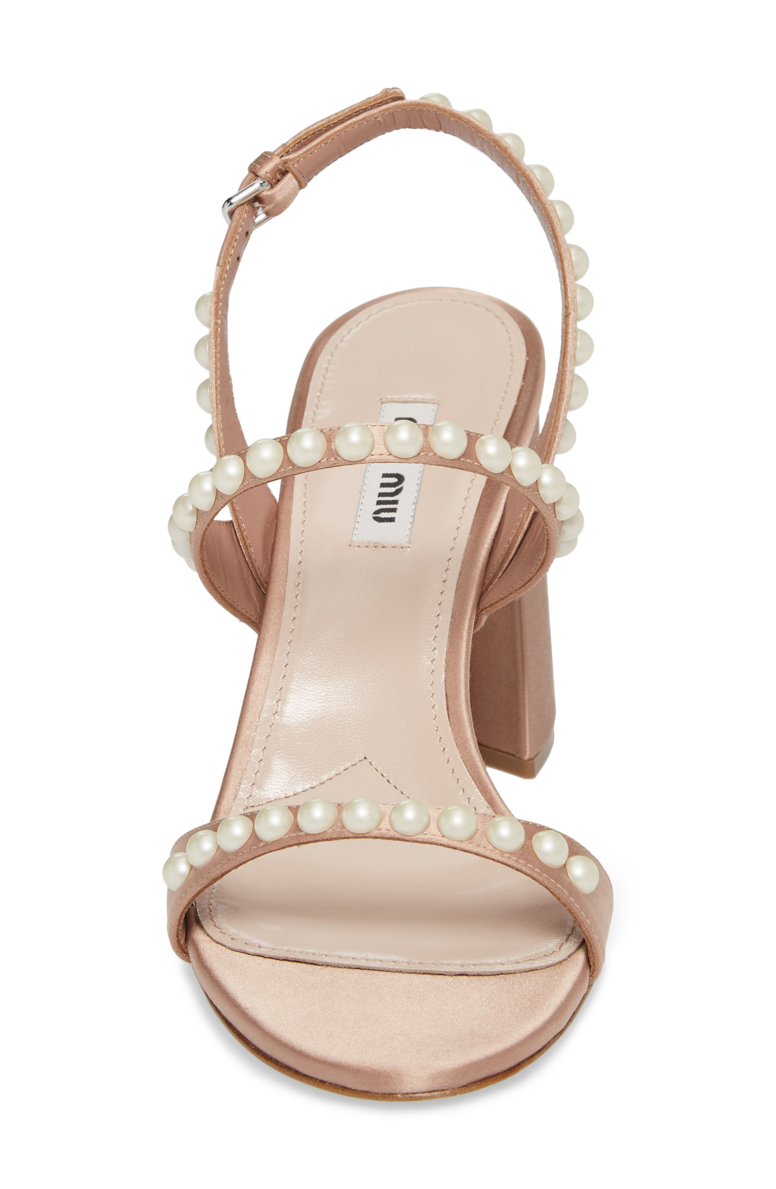 Imitation Pearl Slingback Sandal,                             Alternate thumbnail 4, color,                             250