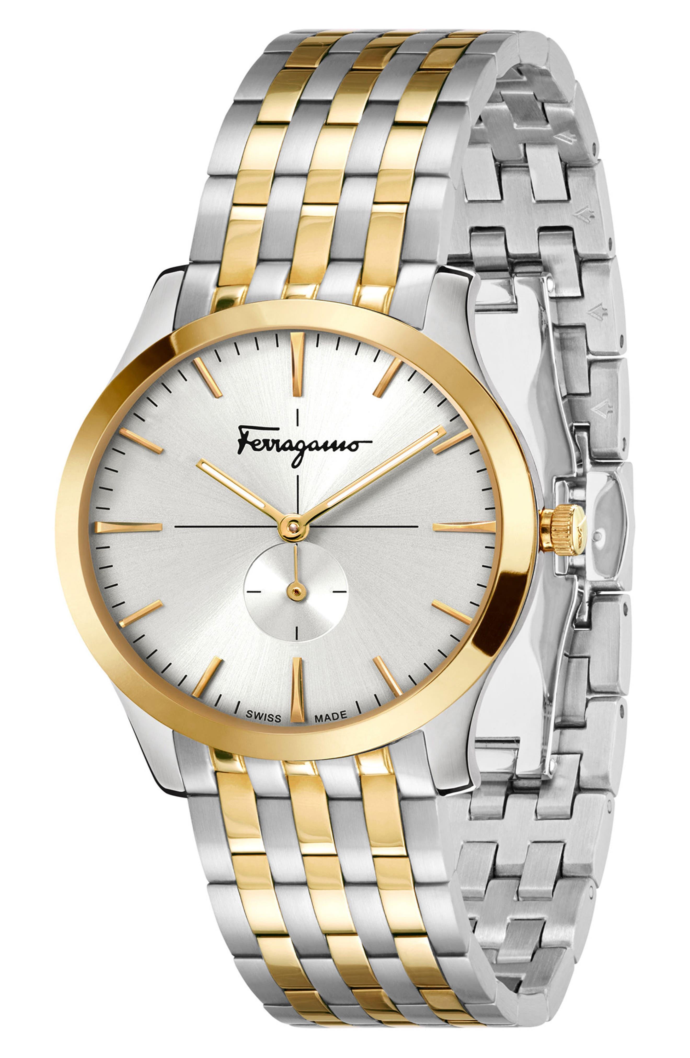Slim Formal Bracelet Watch, 35mm,                             Alternate thumbnail 4, color,                             SILVER/ WHITE/ GOLD