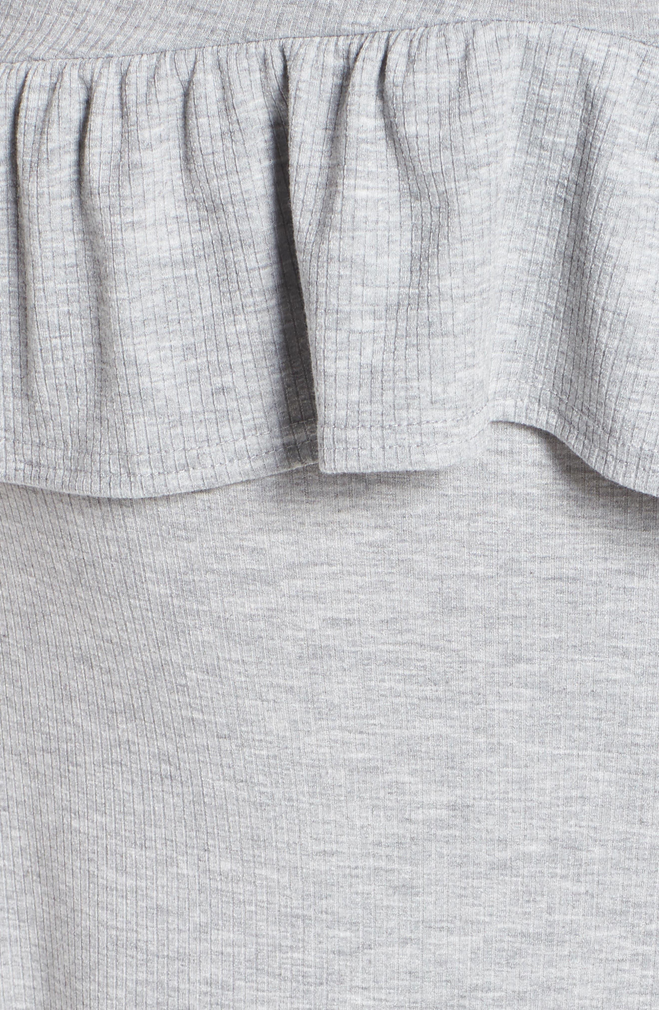 Tie Waist Ruffle Rib Jersey High/Low Dress,                             Alternate thumbnail 6, color,                             020