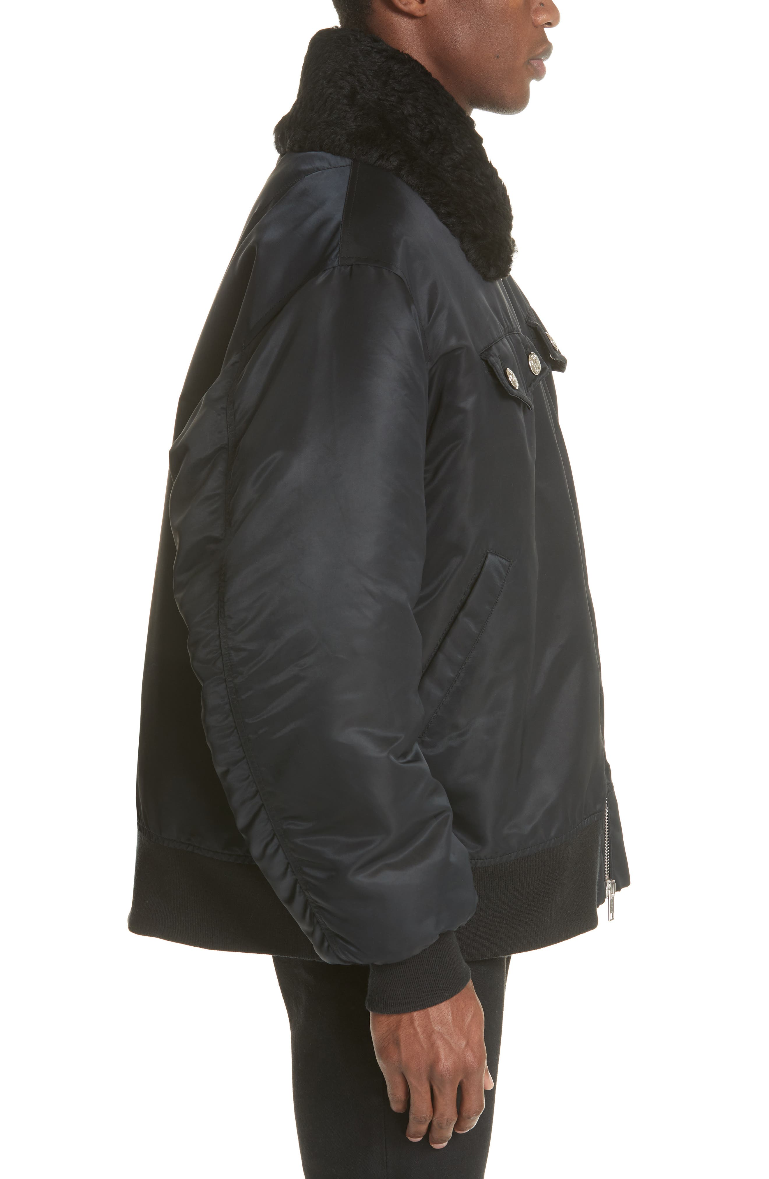 Oversize Bomber Jacket with Genuine Shearling Collar,                             Alternate thumbnail 3, color,                             BLACK