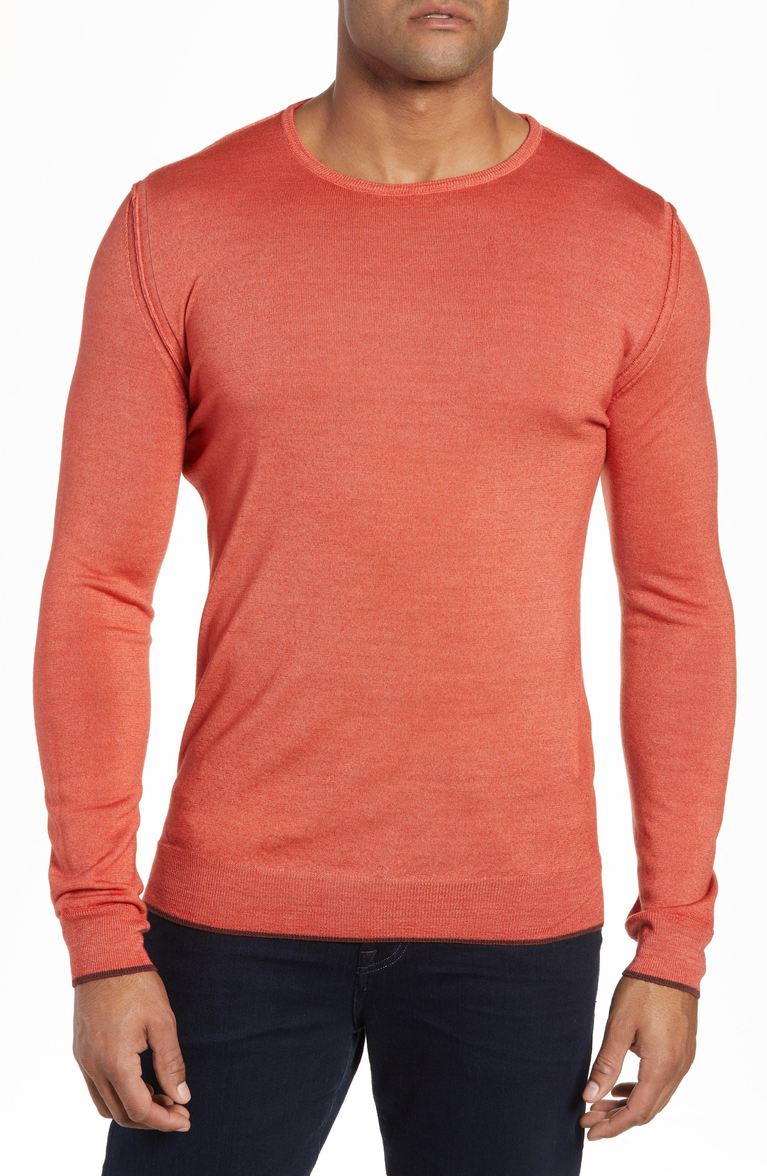 Trim Fit Crewneck Wool Sweater,                             Main thumbnail 1, color,                             ORANGE