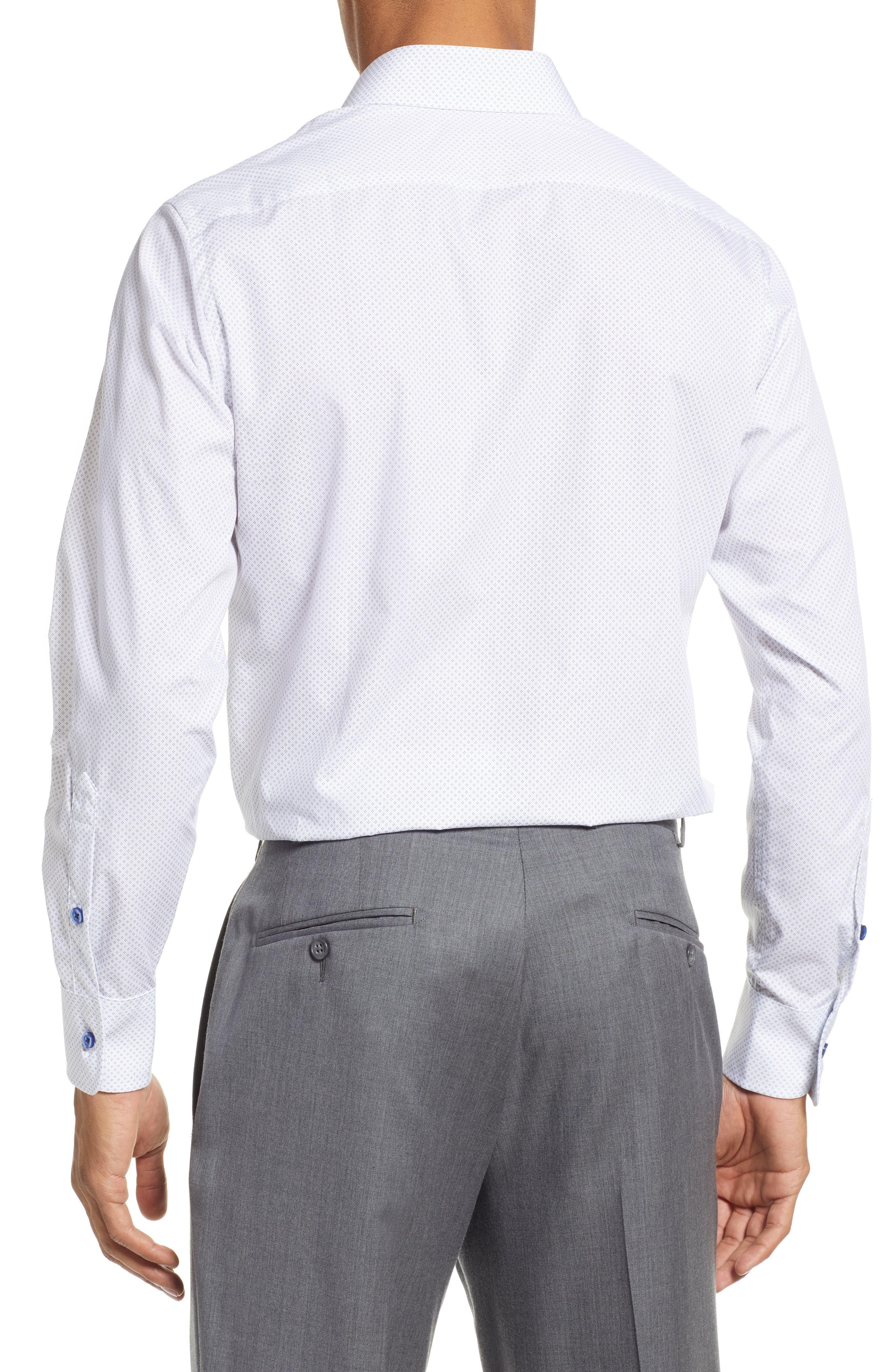 Slim Fit Diamond Dress Shirt,                             Alternate thumbnail 3, color,                             WHITE DIAMOND DOT