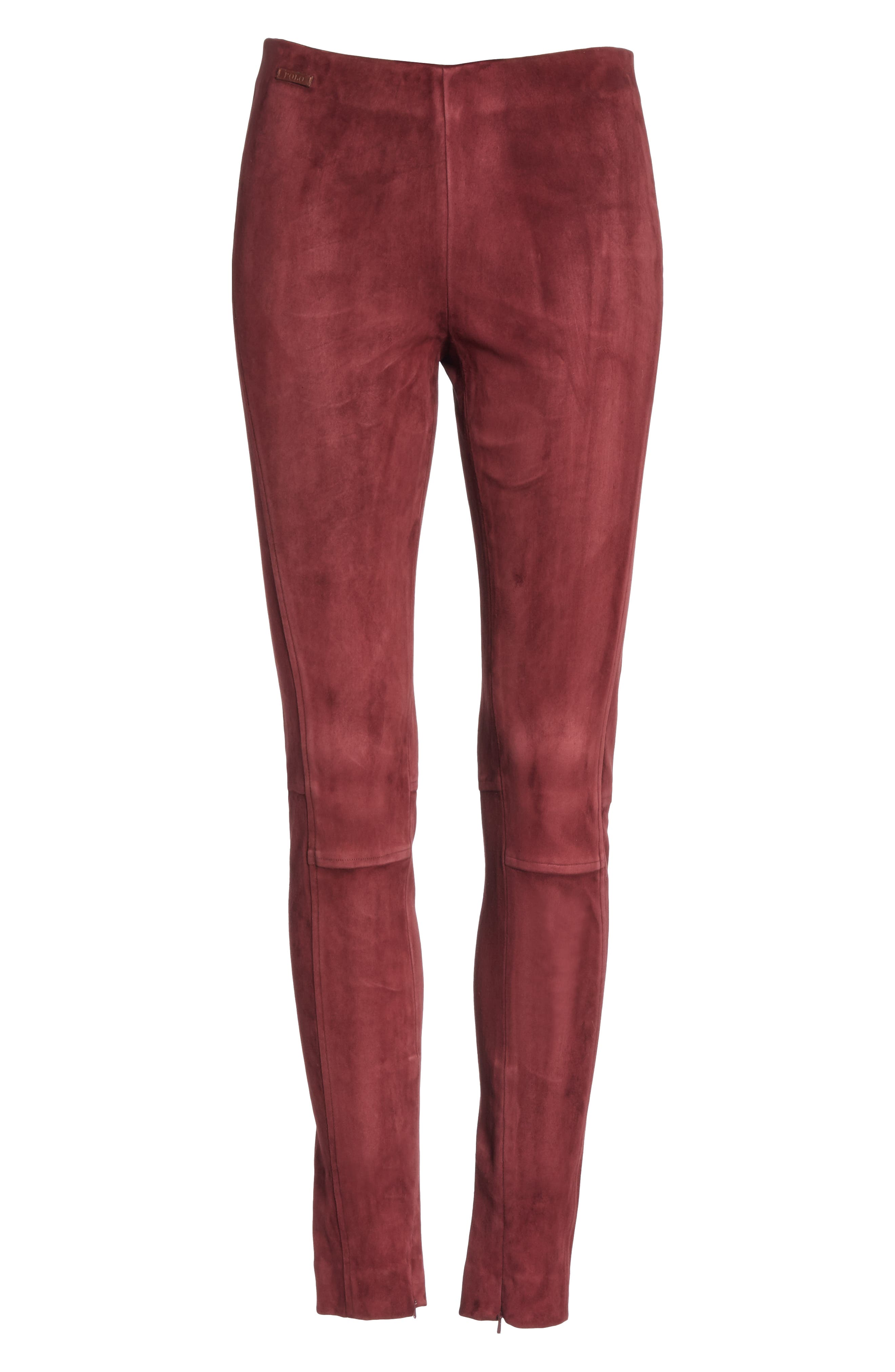 POLO RALPH LAUREN,                             Pull-On Skinny Suede Pants,                             Alternate thumbnail 6, color,                             930