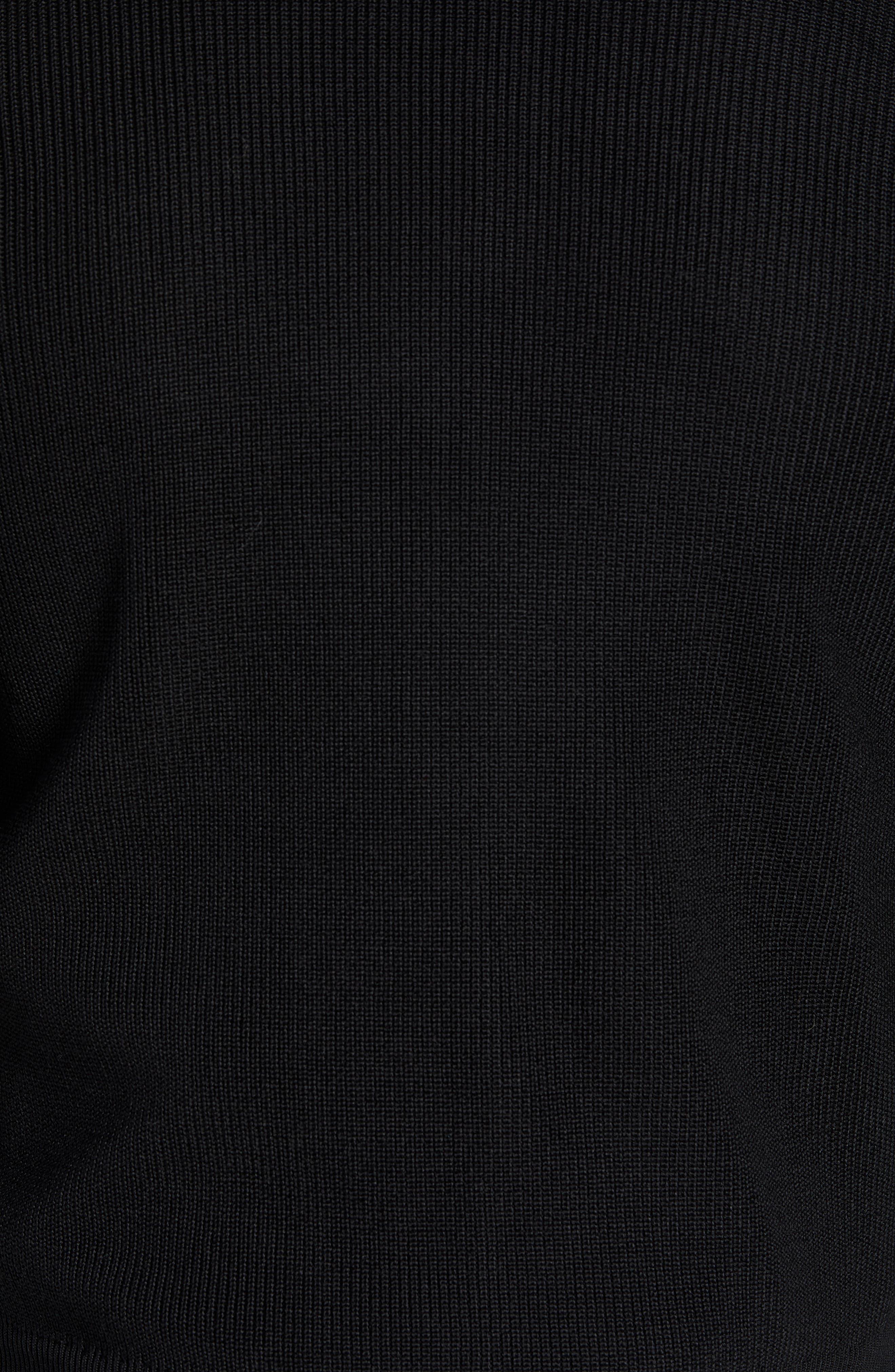 Water Resistant Merino Wool Blend Sweater,                             Alternate thumbnail 6, color,                             BLACK