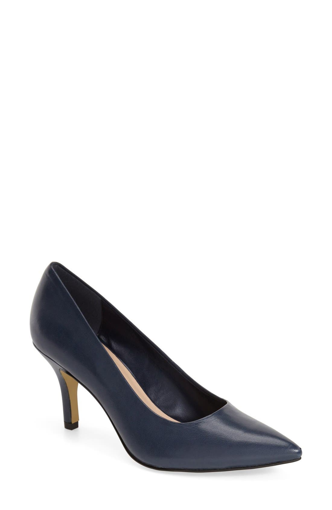 'Define' Pointy Toe Pump,                             Main thumbnail 1, color,                             NAVY LEATHER