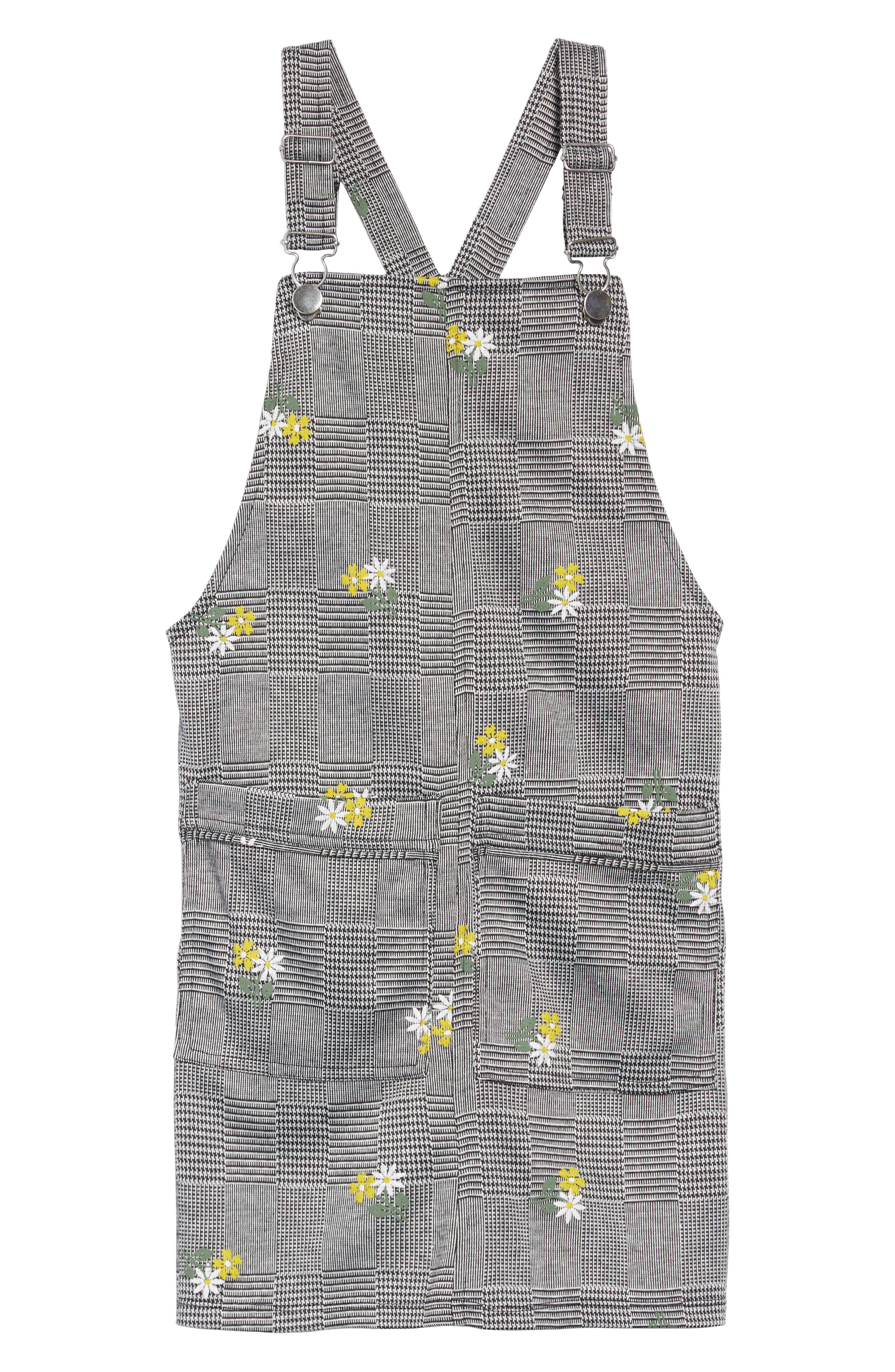 Embroidered Plaid Jumper,                         Main,                         color, BLACK/ WHITE PLAID
