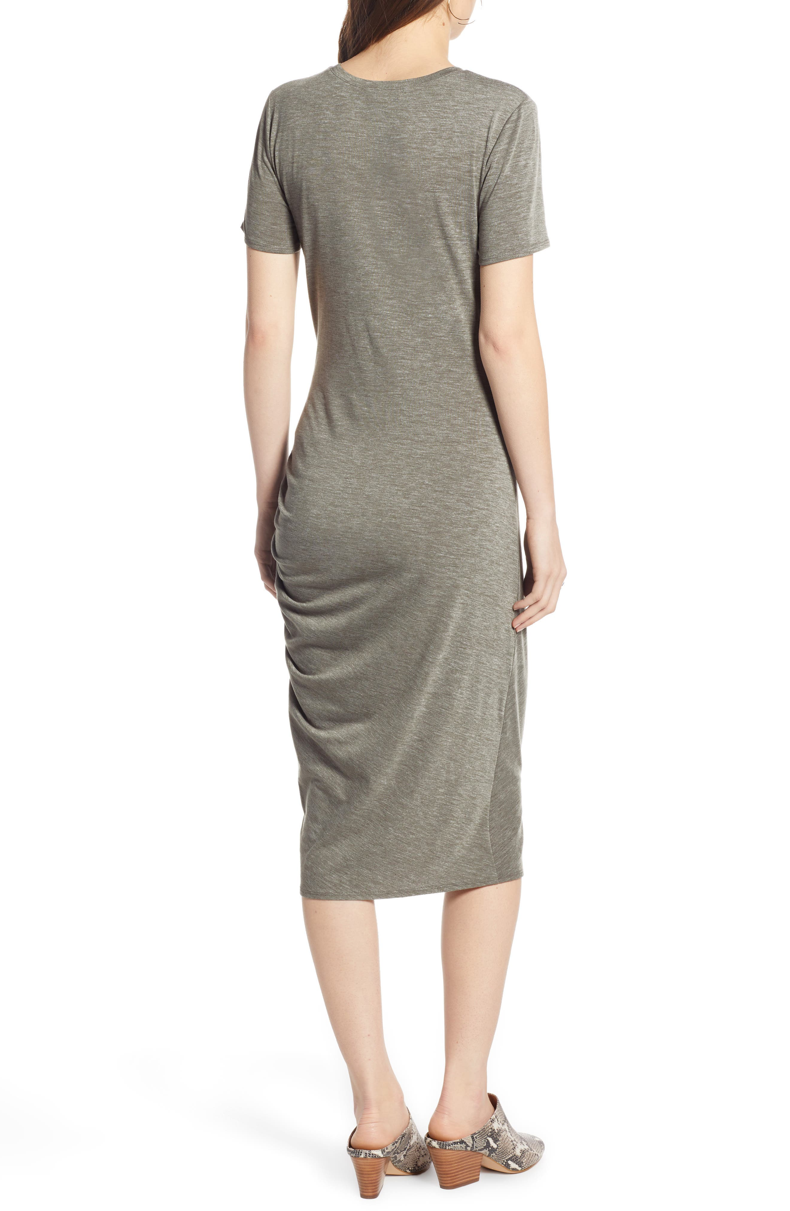 TREASURE & BOND, Side Ruched Body-Con Dress, Alternate thumbnail 2, color, OLIVE SARMA HEATHER