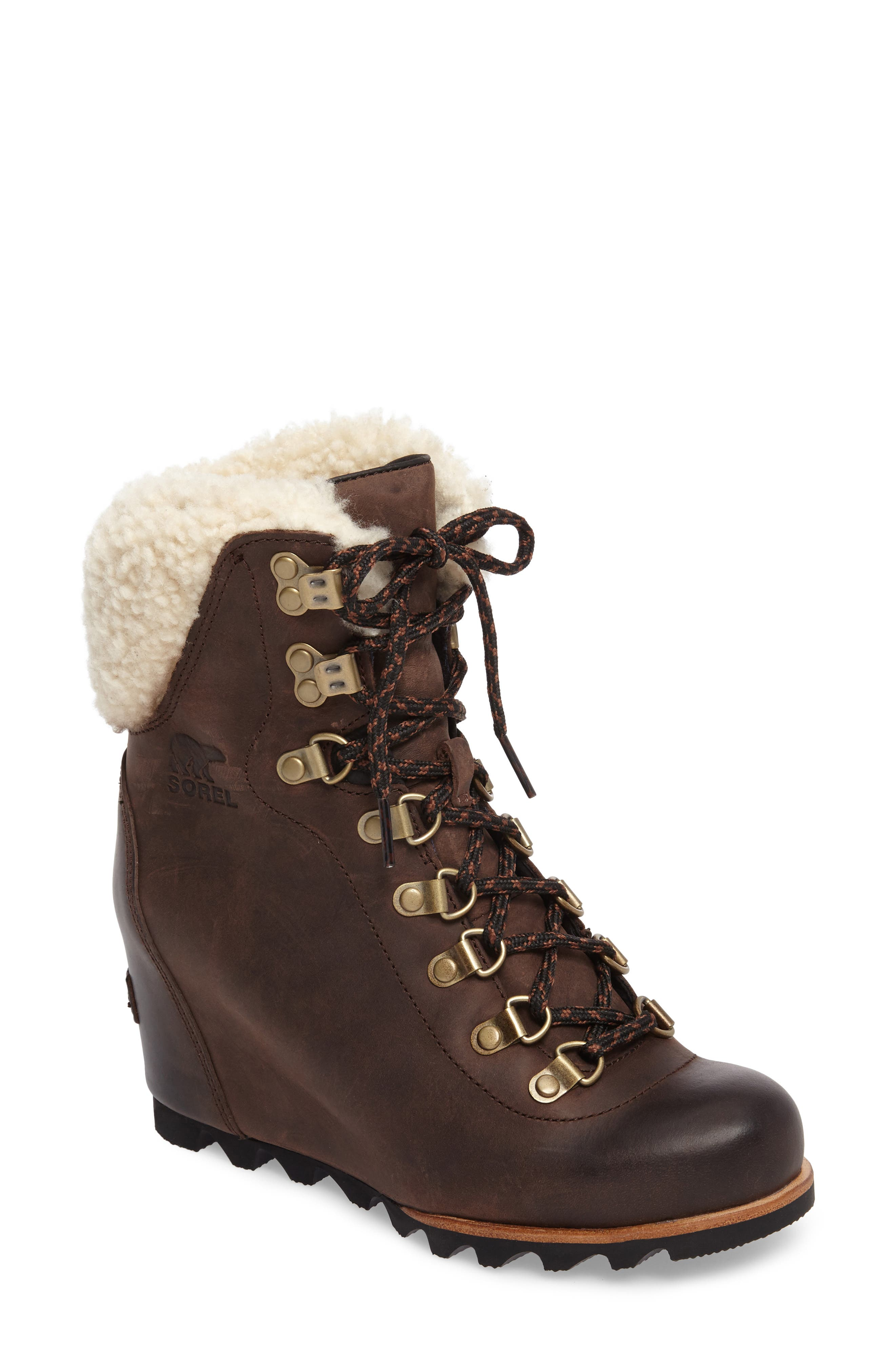 Conquest Genuine Shearling Cuff Waterproof Boot,                             Main thumbnail 1, color,                             200