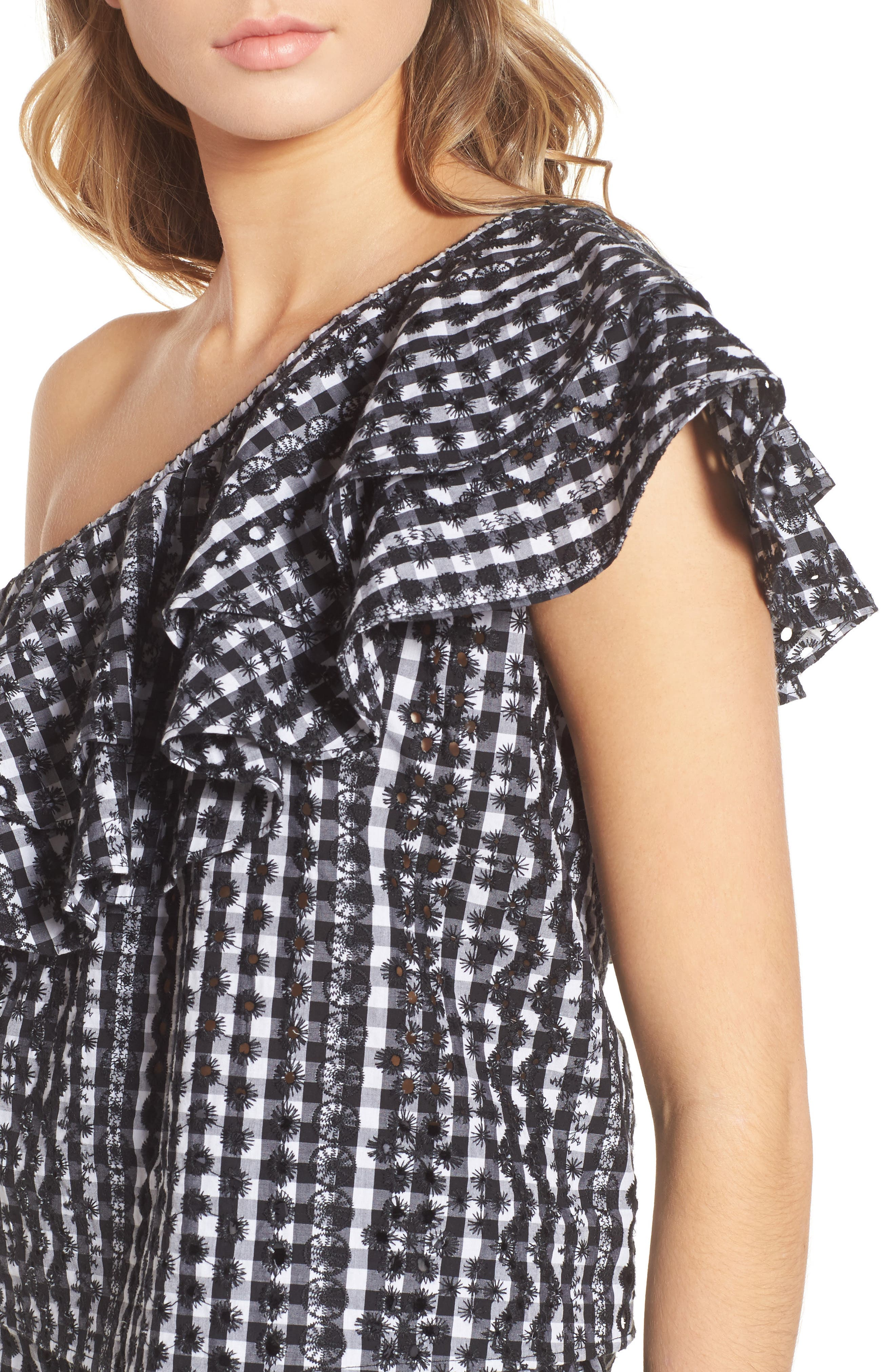 Lily Eyelet Gingham Top,                             Alternate thumbnail 4, color,                             004