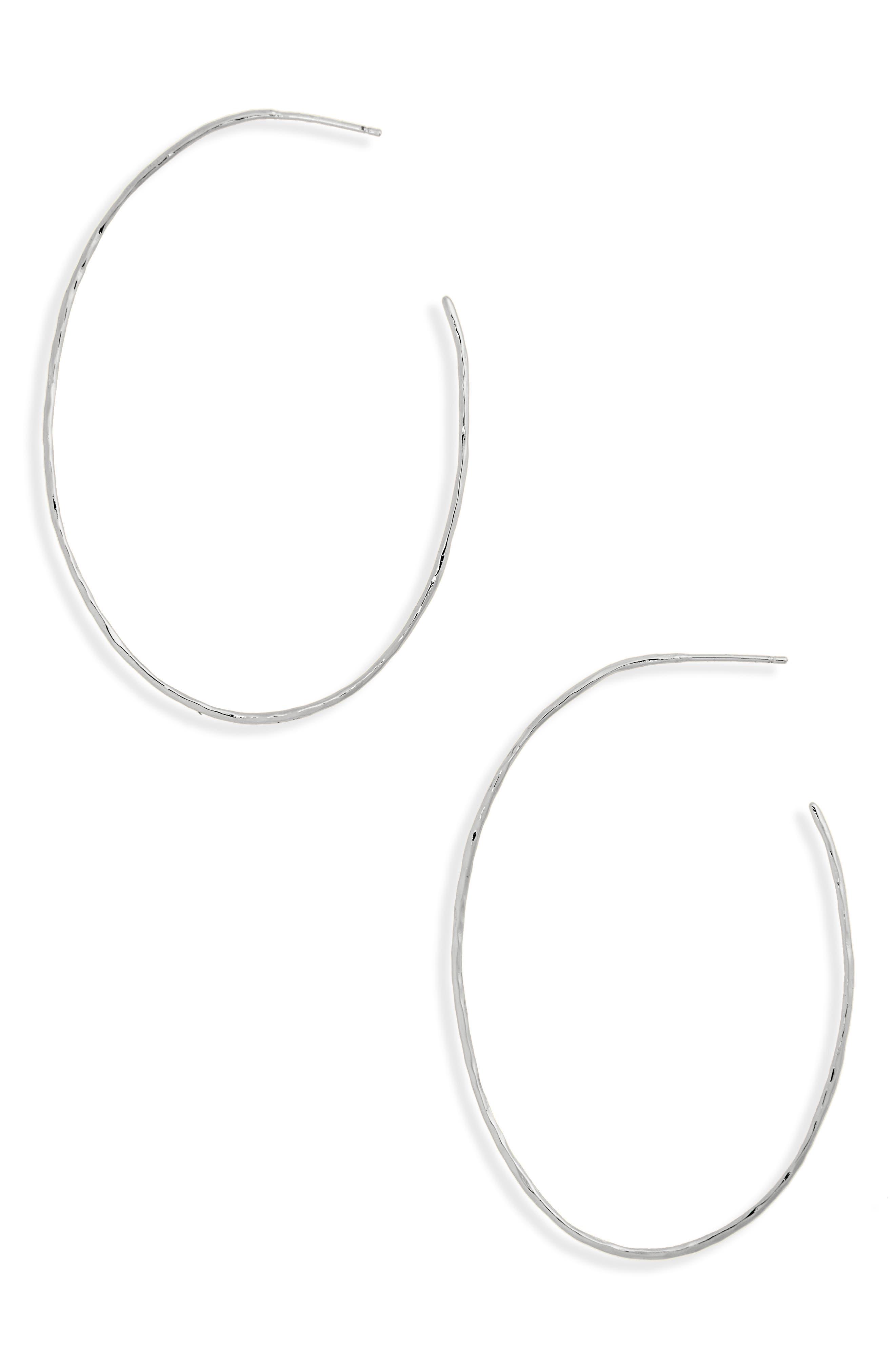 Summer Oval Hoop Earrings,                             Main thumbnail 1, color,                             SILVER
